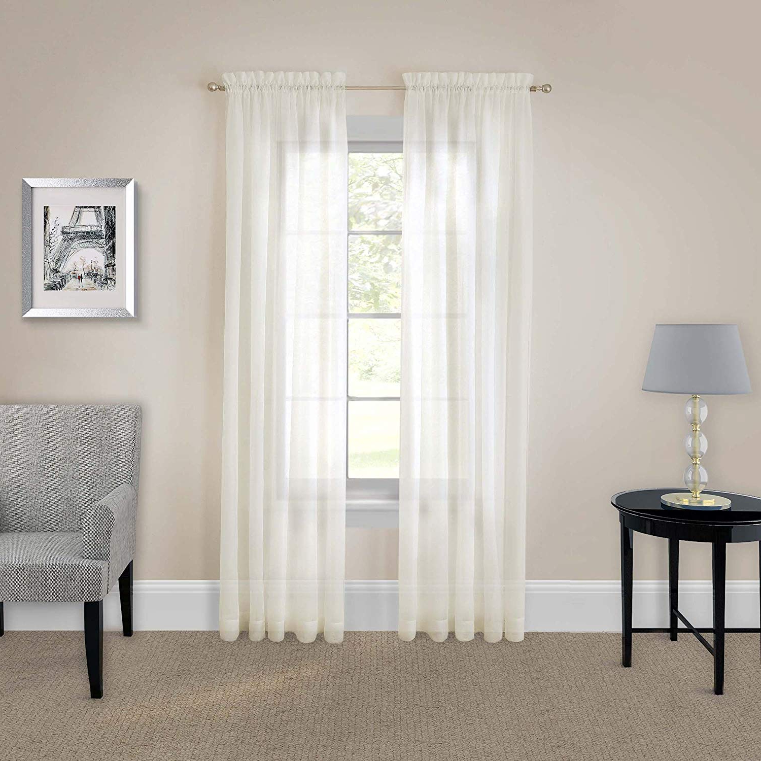 Preferred Curtain Panel Pairs In Pairs To Go 16005118x084ivy Victoria Voile 118 Inch84 Inch Window Panel  Pair, Ivory (View 20 of 20)