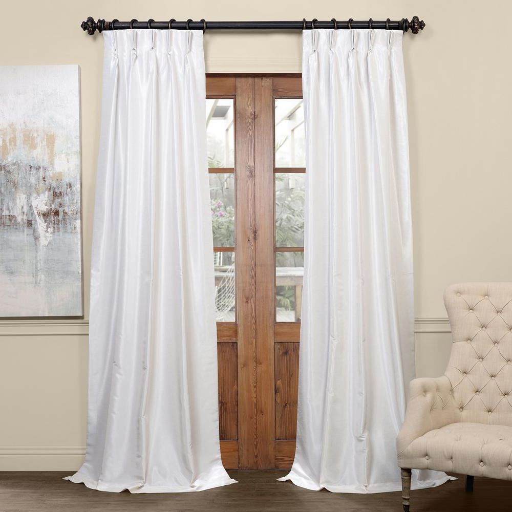 Preferred Exclusive Fabrics & Furnishings Off White Blackout Vintage Textured Faux  Dupioni Pleated Curtain – 25 In. W X 96 In (View 16 of 20)