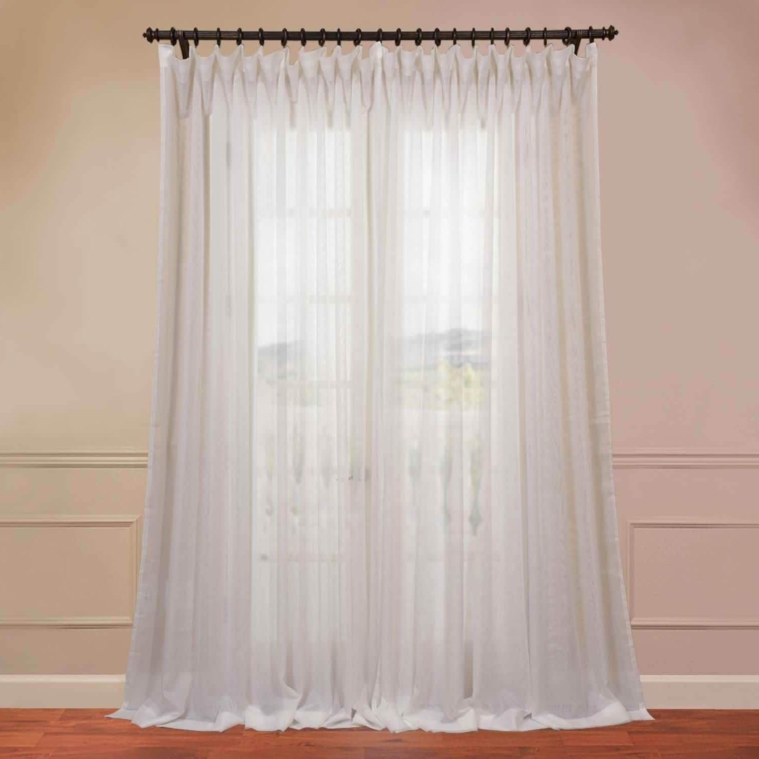 Preferred Exclusive Fabrics Signature Off White Extra Wide Double Regarding Signature Extrawide Double Layer Sheer Curtain Panels (View 12 of 20)