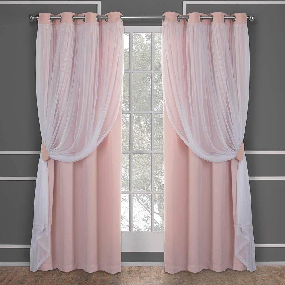 Preferred Exclusive Home Curtains Catarina Layered Solid Blackout And Sheer Window Curtain Panel Pair With Grommet Top, 52x108, Rose Blush, 2 Piece Throughout Elrene Aurora Kids Room Darkening Layered Sheer Curtains (View 9 of 20)
