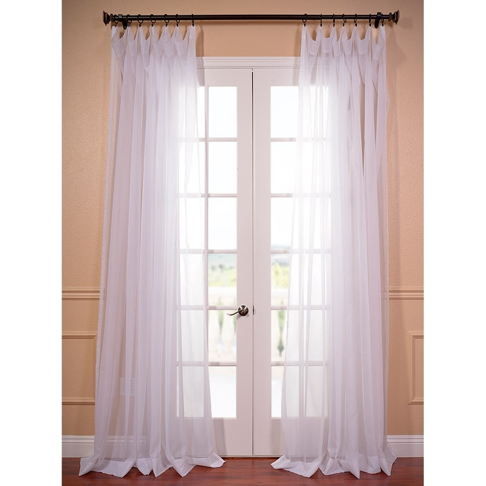 "Preferred Extra Wide White Voile Sheer Curtain Panels Intended For Exclusive Fabrics Extra Wide White Poly Voile Sheer Curtain Panel 96"" L (as Is Item) (View 19 of 20)"