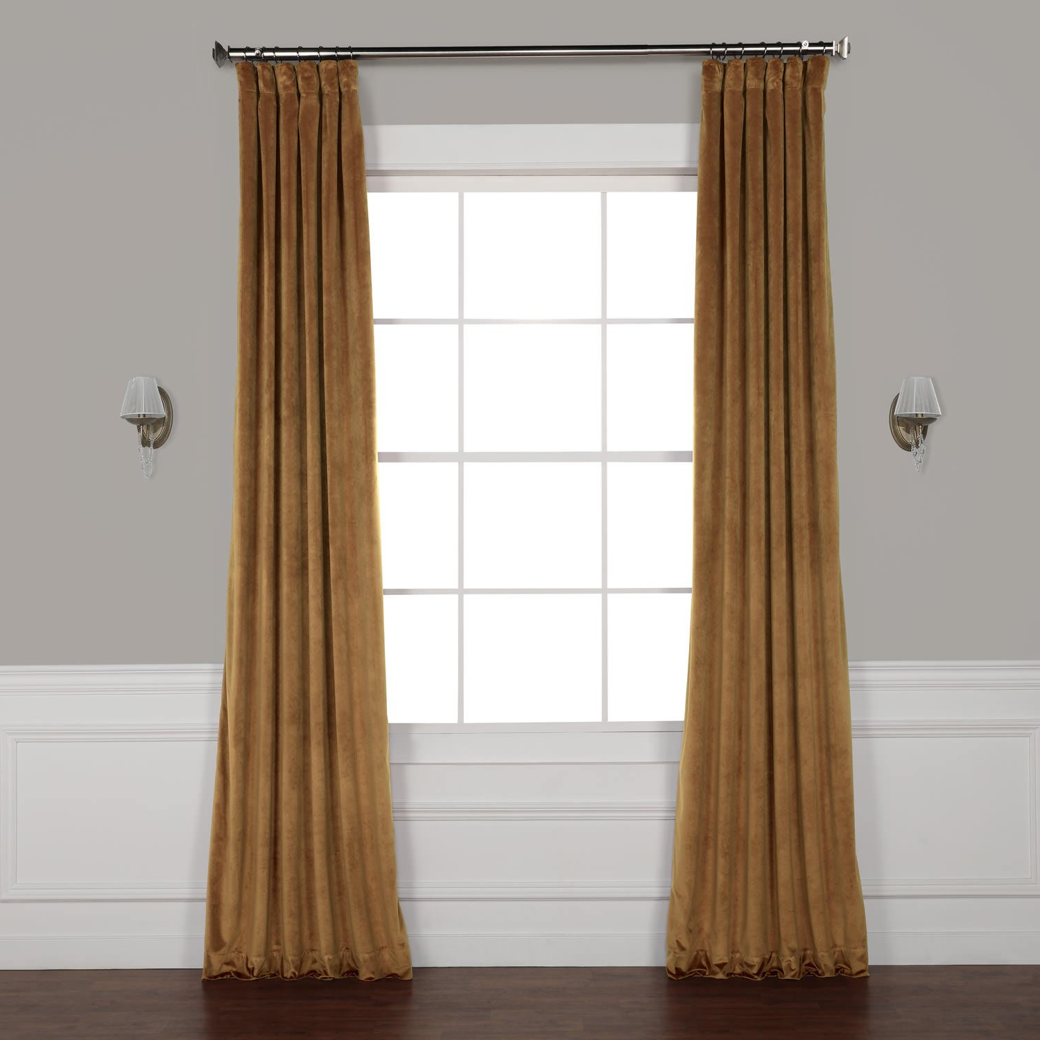 Preferred Half Price Drapes Vpyc 161232 96 Heritage Plush Velvet Curtain, 50 X 96,  Spiced Rum With Heritage Plush Velvet Curtains (View 16 of 20)