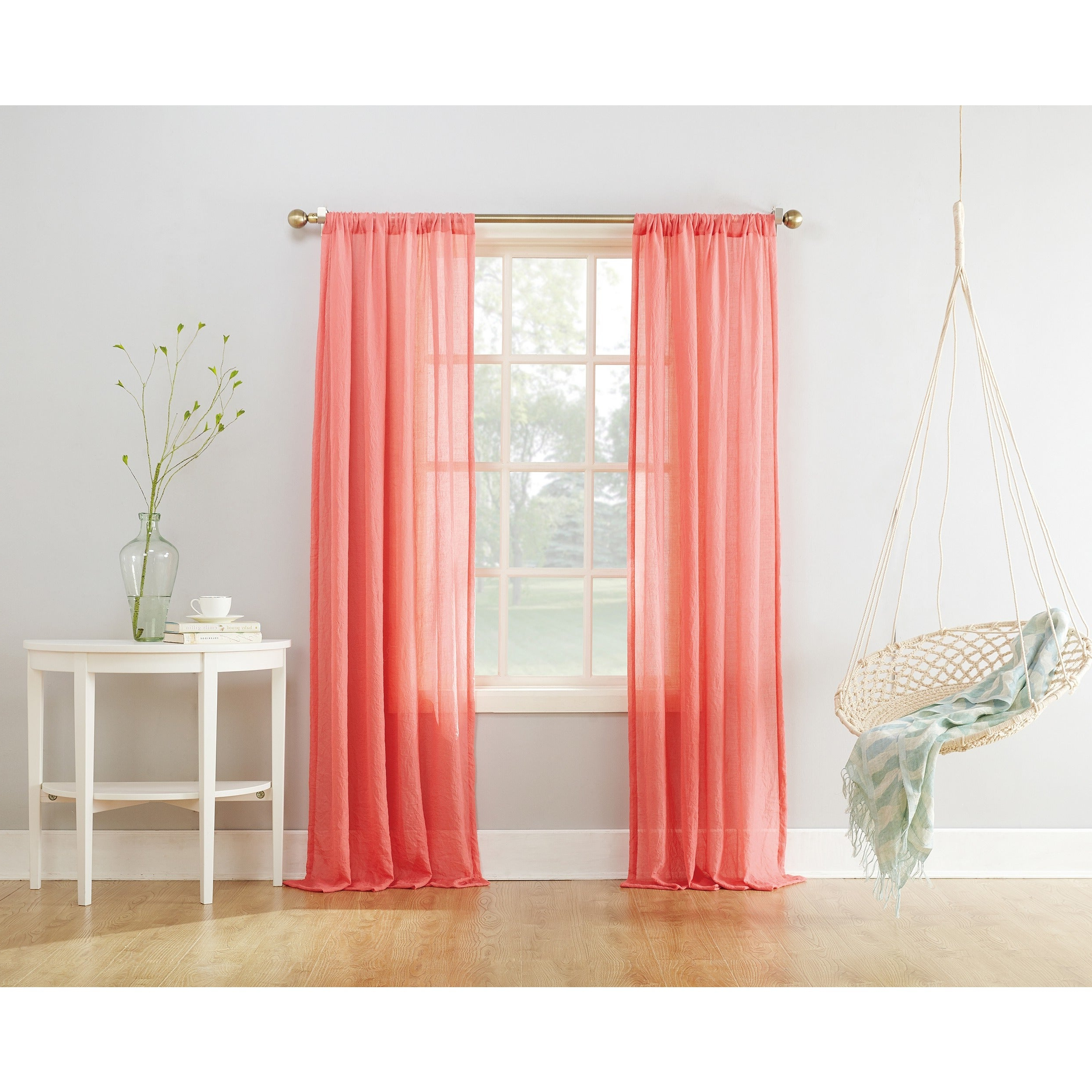 Preferred Ladonna Rod Pocket Solid Semi Sheer Window Curtain Panels In No (View 19 of 20)
