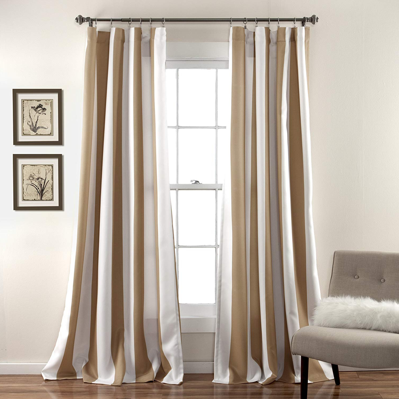 Preferred Lush Decor Wilbur Stripe Room Darkening Window Curtain Panel Pair, Taupe, 84 Inch X 52 Inch, Set Of 2 Pertaining To Julia Striped Room Darkening Window Curtain Panel Pairs (View 8 of 20)