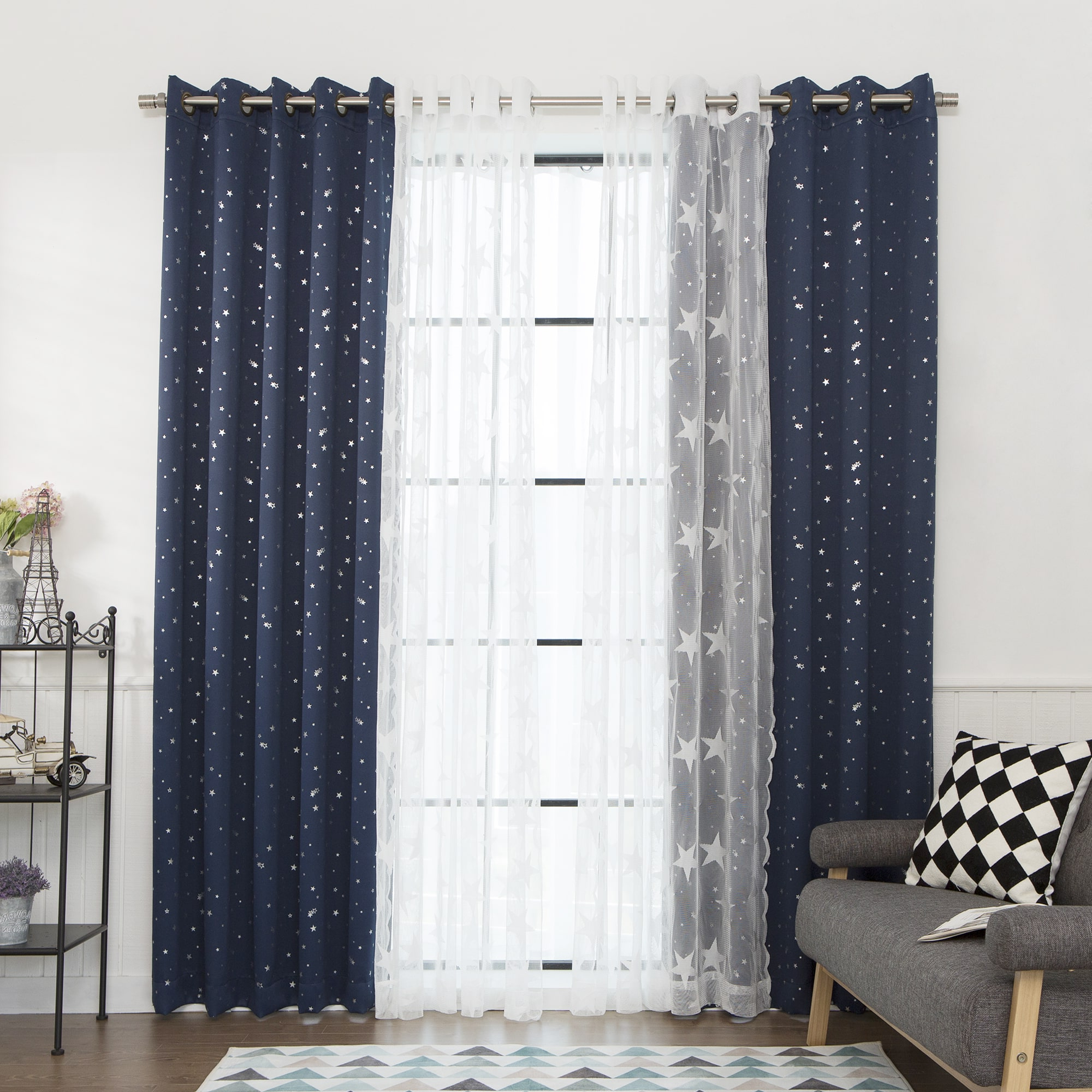 Preferred Mix & Match Blackout Tulle Lace Bronze Grommet Curtain Panel Sets With Aurora Home Mix & Match Curtains Blackout Tulle Lace Sheer (View 18 of 20)