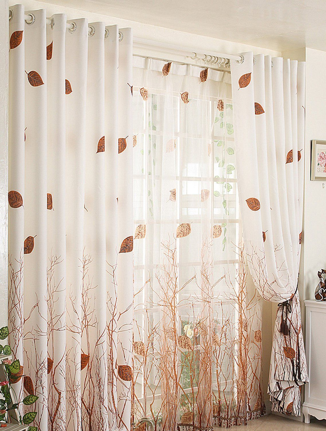 Preferred Montpellier Striped Linen Sheer Curtains In Amazon: Elleweideco Modern Autumn Leaf Tree Branch Sheer (View 18 of 20)
