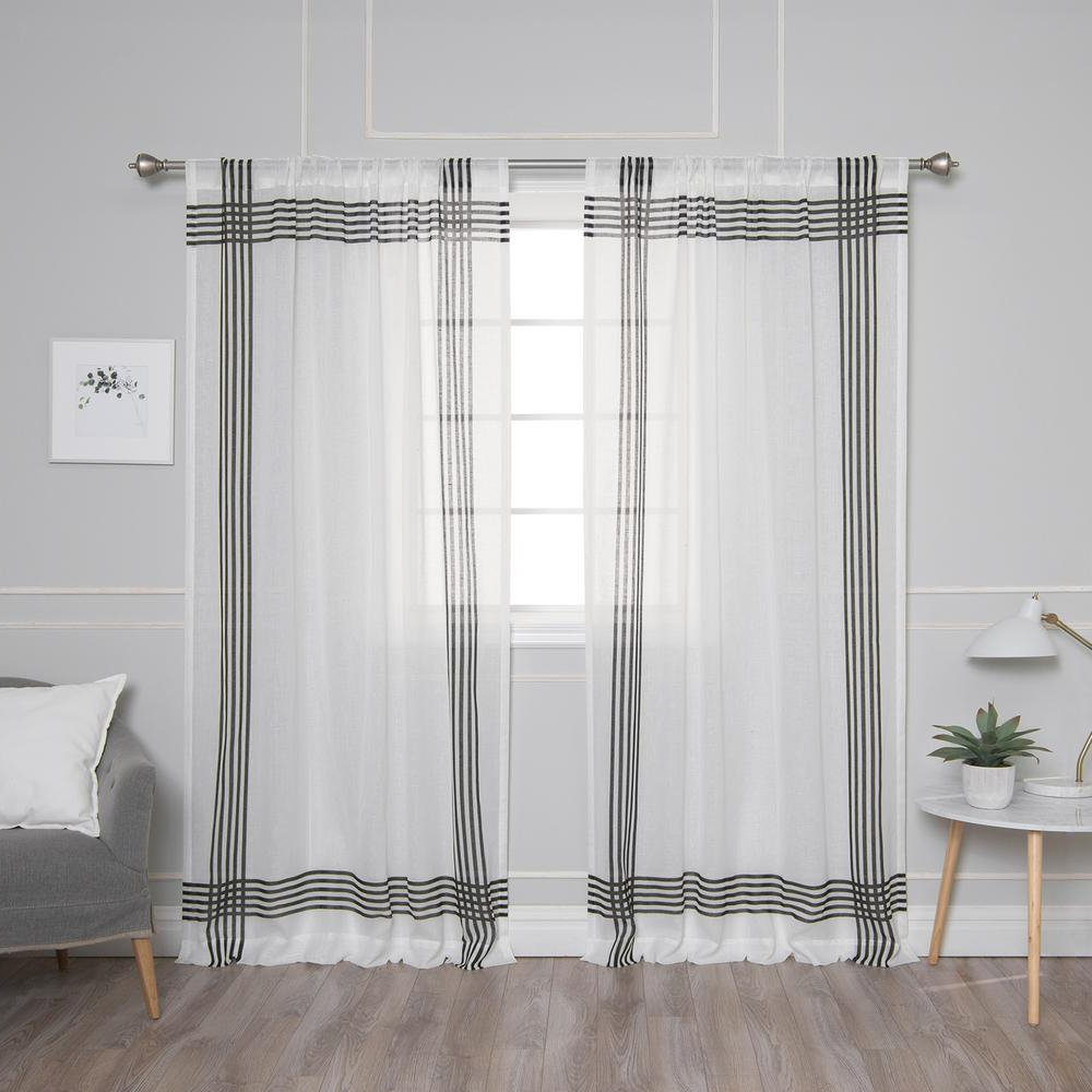 Preferred Montpellier Striped Linen Sheer Curtains Pertaining To Best Home Fashion White Sheer Cross Stripe Border Curtain – 52 In. W X 84 In (View 12 of 20)