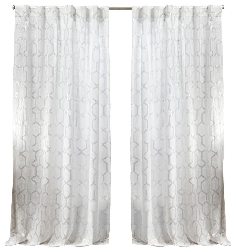 Preferred Panza Metallic Print Sheer Hidden Tab Curtain Panel Pair, Winter Silver,  54X96 Inside Oakdale Textured Linen Sheer Grommet Top Curtain Panel Pairs (View 17 of 20)