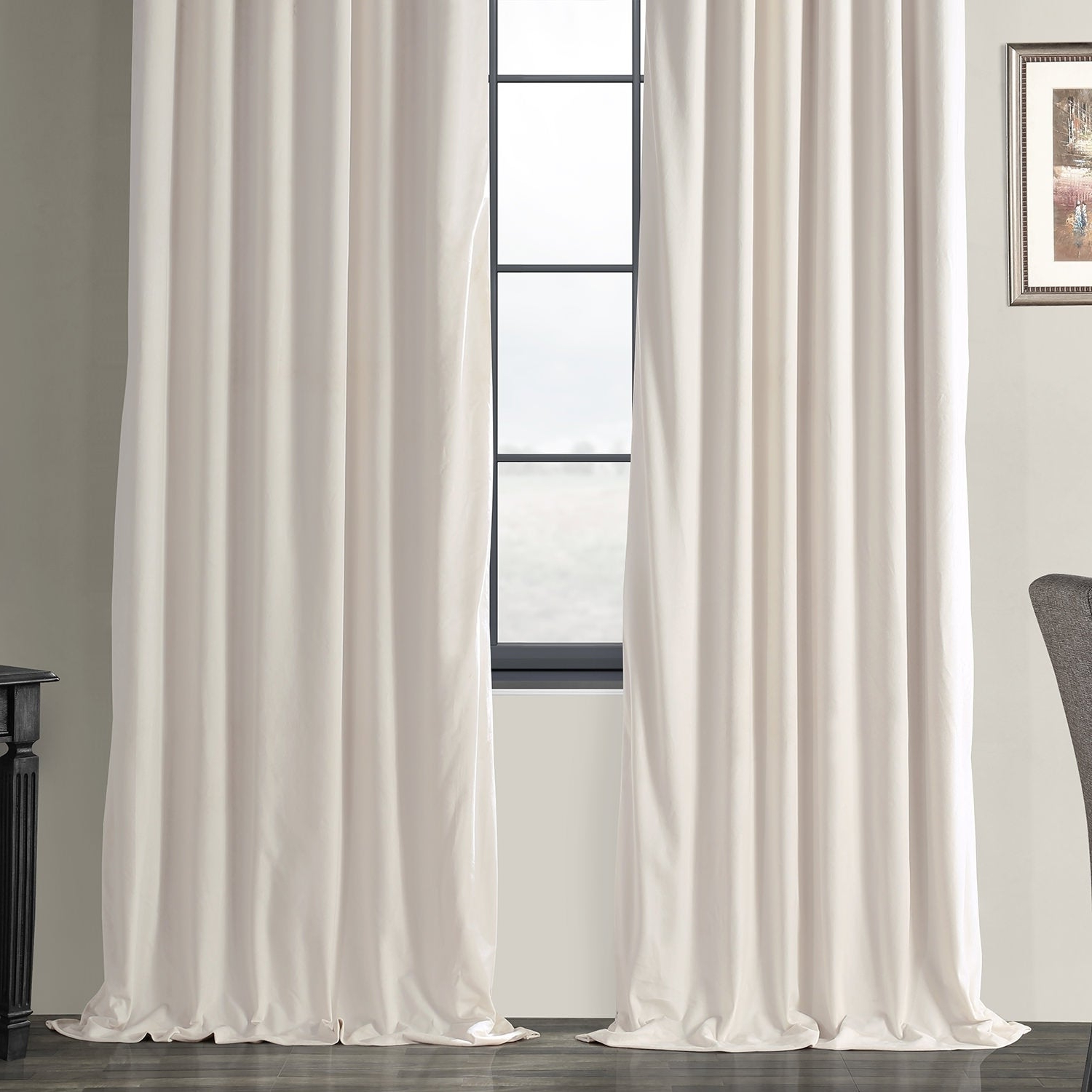 Preferred Signature Ivory Velvet Blackout Single Curtain Panels With Exclusive Fabrics Signature Ivory Velvet Blackout Single Curtain Panel (View 2 of 20)