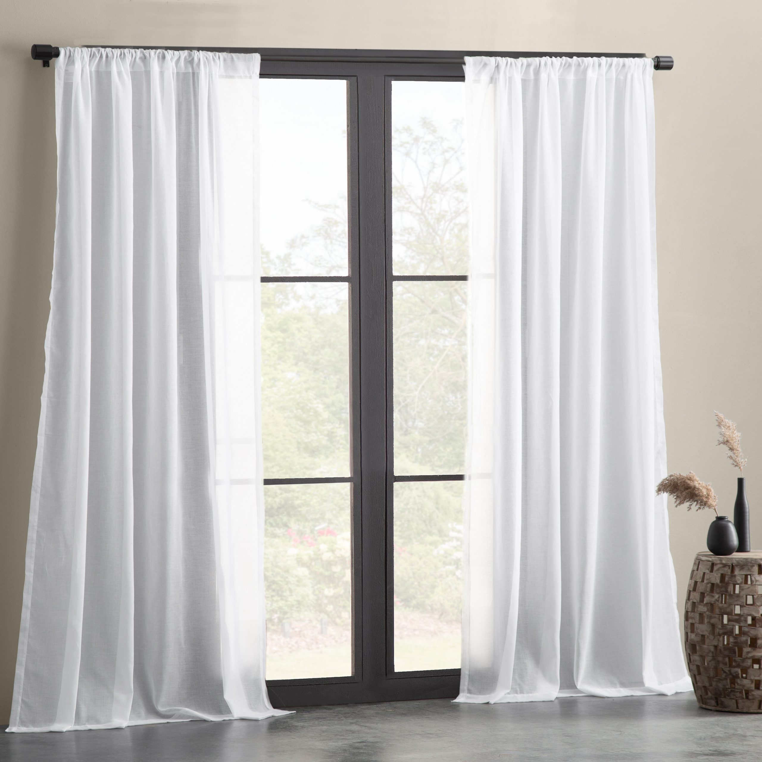 Preferred Solid Cotton Curtain Panels Pertaining To Nolan Cotton Blend Textured Weave Solid Sheer Rod Pocket Single Curtain Panel (View 8 of 20)