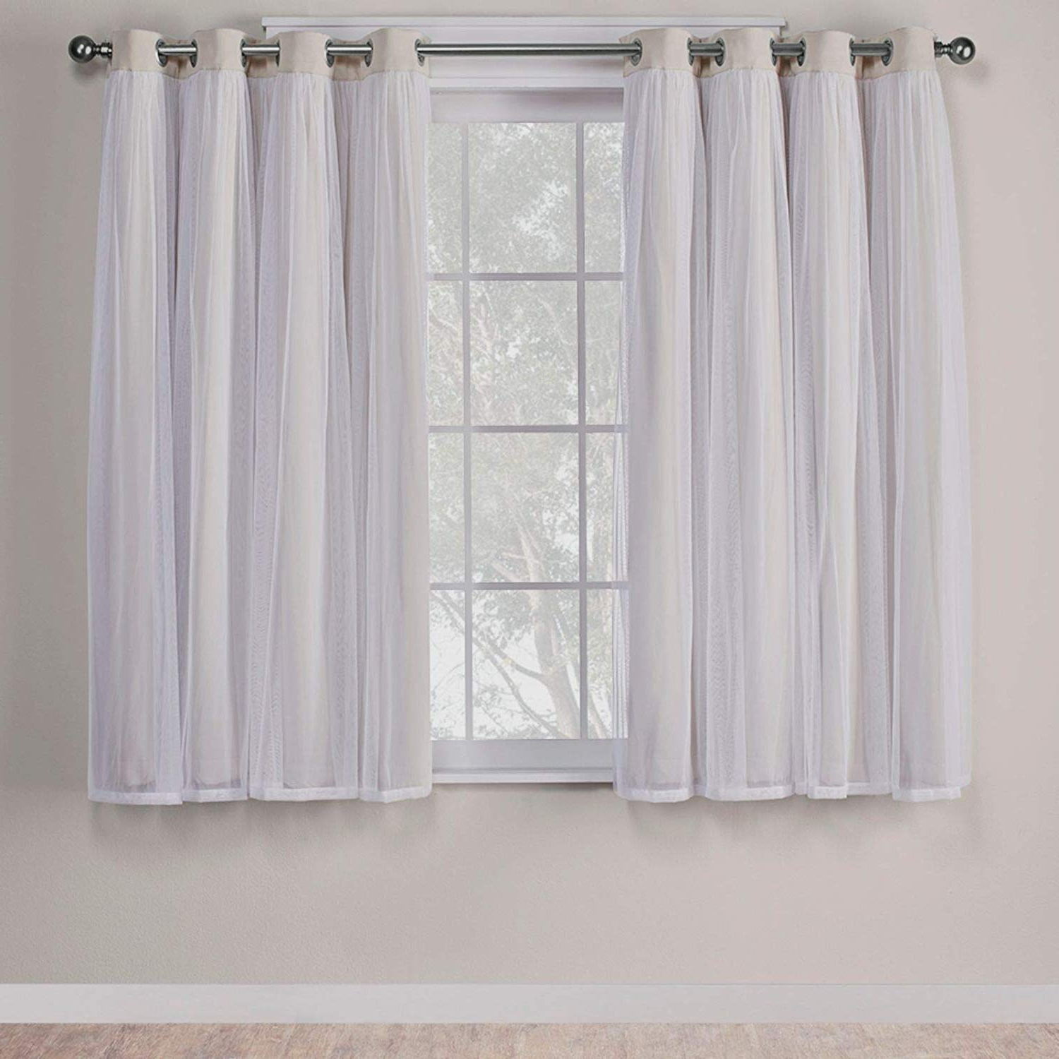Preferred Solid Grommet Top Curtain Panel Pairs For Exclusive Home Curtains Catarina Layered Solid Blackout And Sheer Window Curtain Panel Pair With Grommet Top, 52x63, Sand, 2 Piece (View 10 of 20)