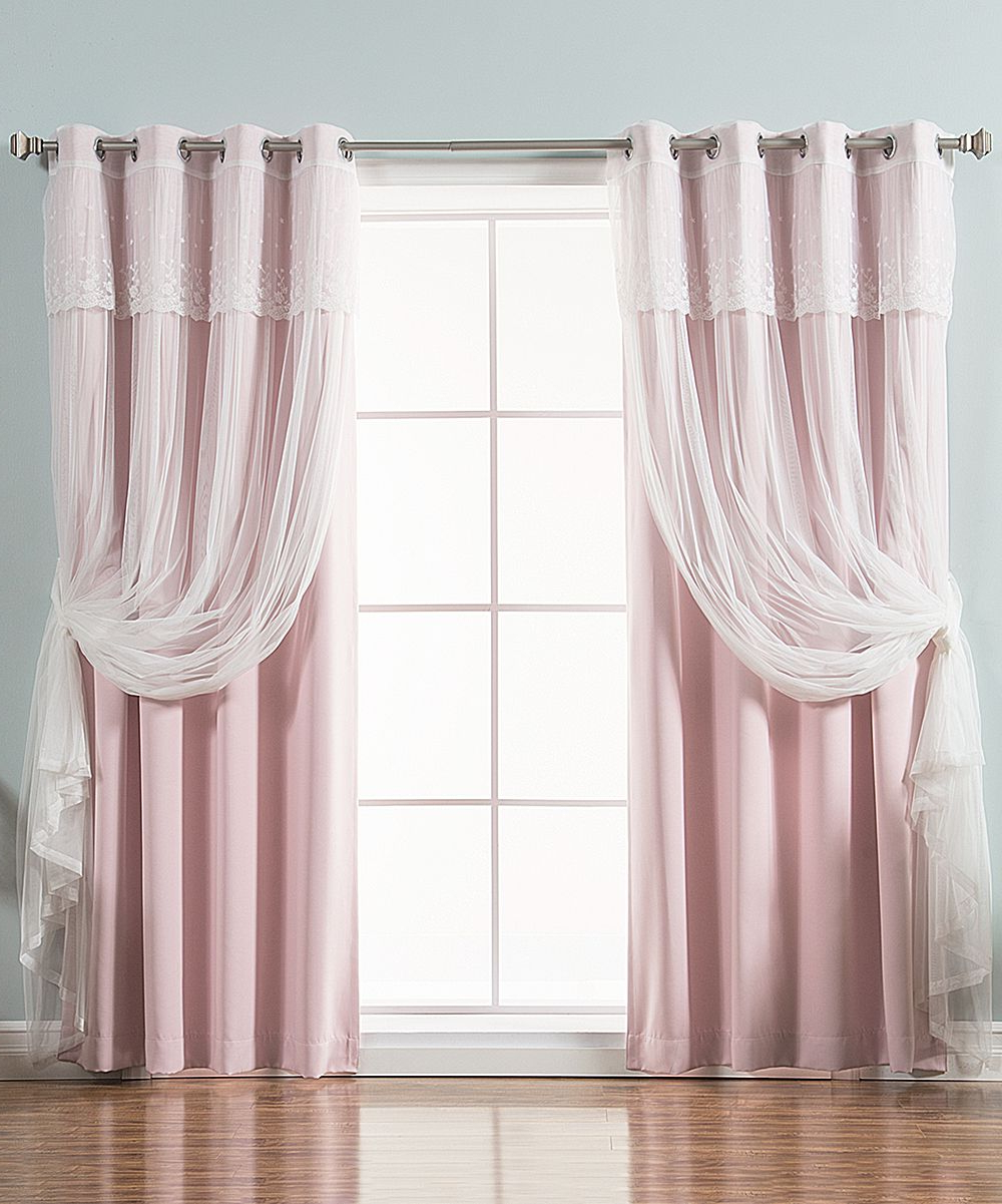 Preferred Tulle Sheer With Attached Valance And Blackout 4 Piece Curtain Panel Pairs Intended For Light Pink Tulle Valance Blackout Curtain Panel – Set Of (View 18 of 20)