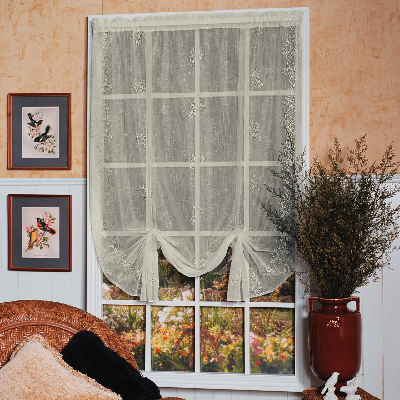 Prescott Insulated Tie Up Window Shade With Favorite Sheer Divine Lace Drape Shade (View 10 of 20)