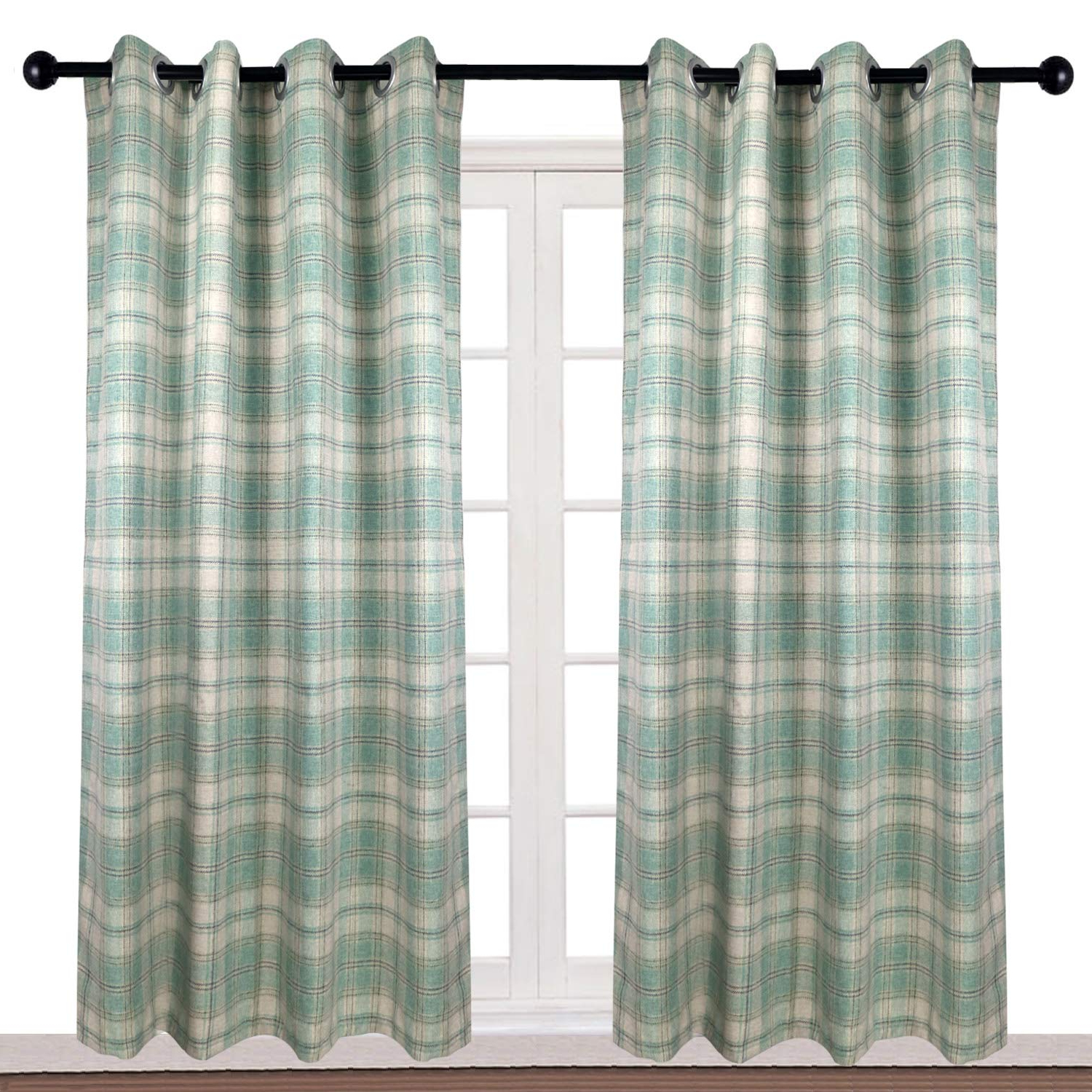 Primebeau Geometric Pattern Blackout Curtain Pairs Throughout Widely Used Kalends Thermal Insulated British Style Plaid Grommet (View 12 of 20)