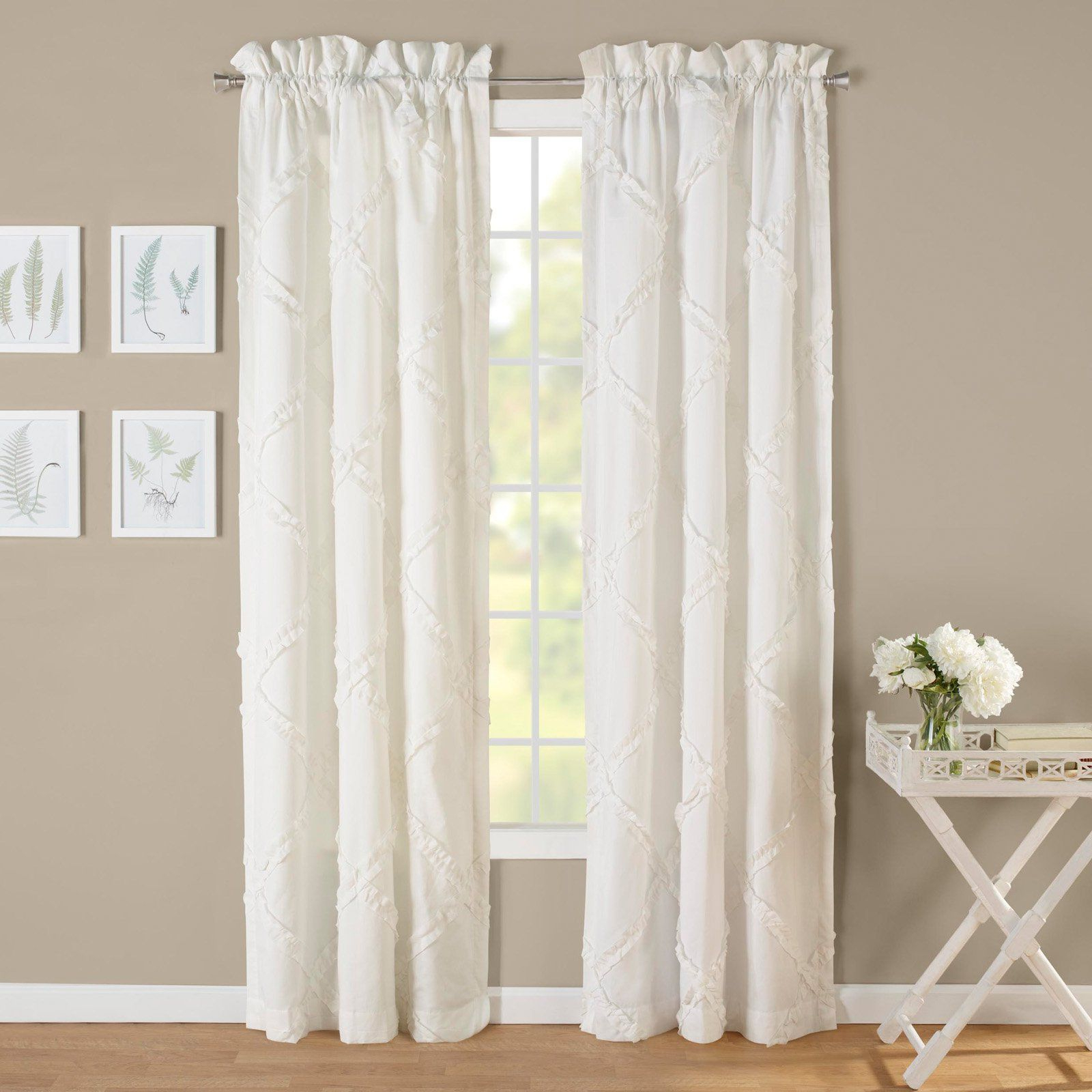 Products Within Ruffle Diamond Curtain Panel Pairs (View 19 of 20)