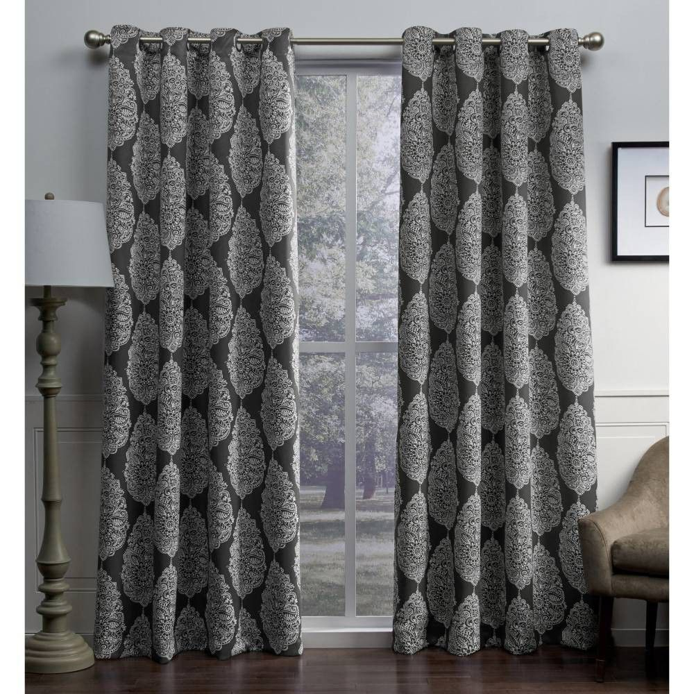 Queensland Printed Medallion Sateen Woven Room Darkening Within Fashionable Essentials Almaden Fretwork Printed Grommet Top Curtain Panel Pairs (View 9 of 20)