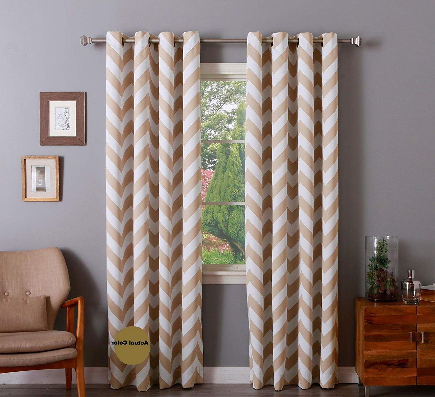 """[%qutain Linen Chevron Thick Heavy Micro Soft Grommet Thermal Insulated – 100% Sun Blackout (or Money Back Garuanteed) Extra Wide – 55"""" Wx 84"""" Long 7 For Best And Newest Chevron Blackout Grommet Curtain Panels