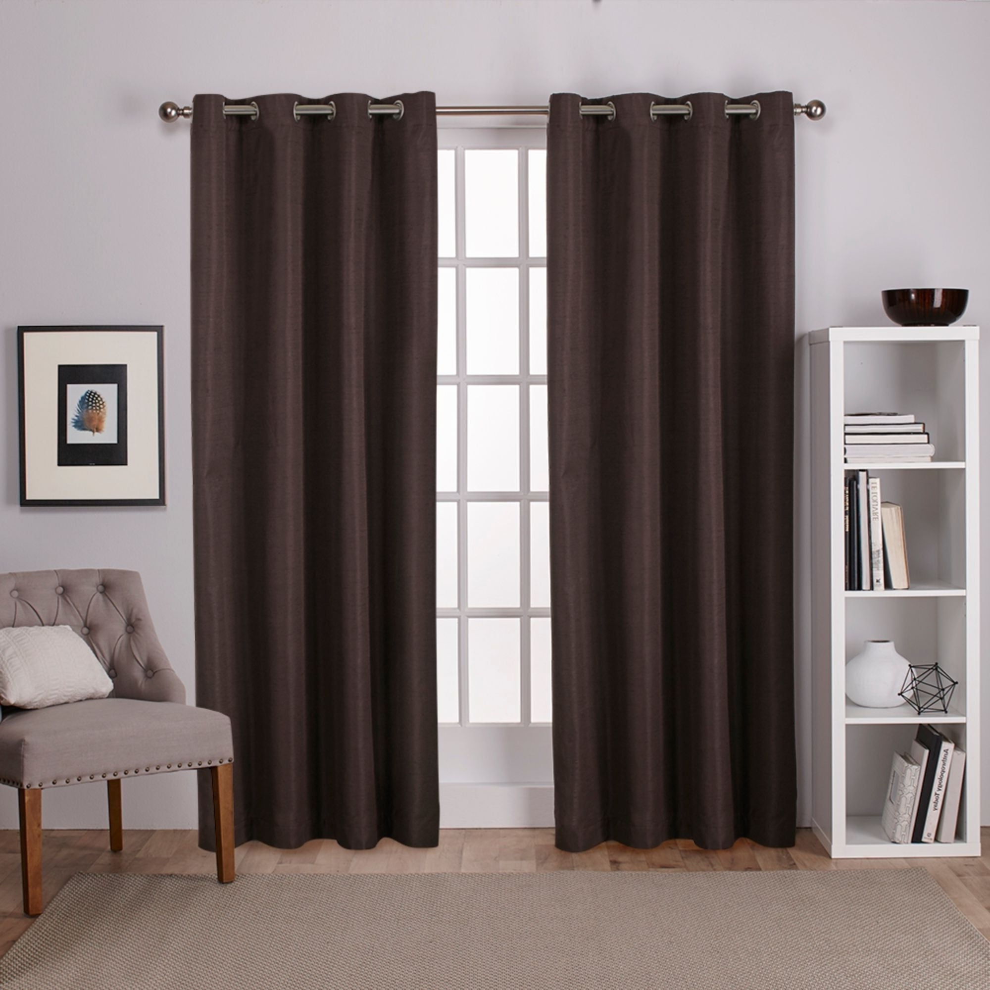 Raw Silk Thermal Insulated Grommet Top Curtain Panel Pairs Pertaining To Current Porch & Den Patchen Raw Silk Thermal Insulated Grommet Top Curtain Panel Pair (View 3 of 20)