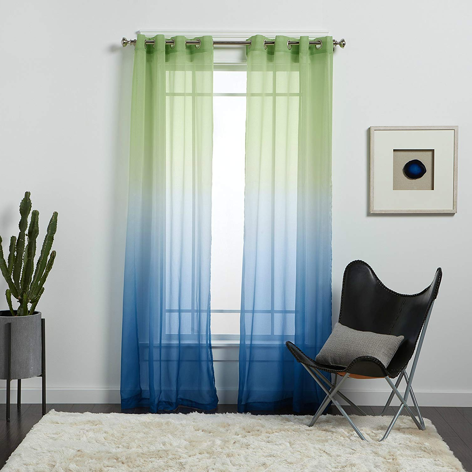Recent Amazon: Ph Single Piece Semi Sheer Ombre Curtain Panel For Ombre Embroidery Curtain Panels (View 15 of 20)