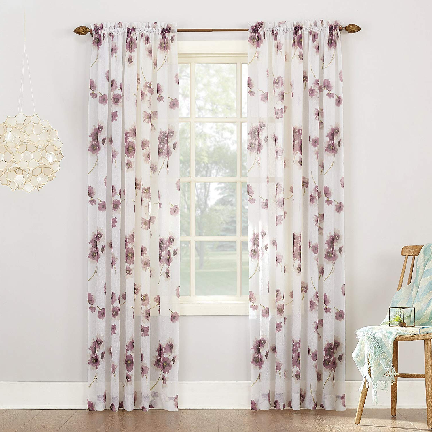Recent Andorra Watercolor Floral Textured Sheer Single Curtain Panels Within No (View 10 of 20)