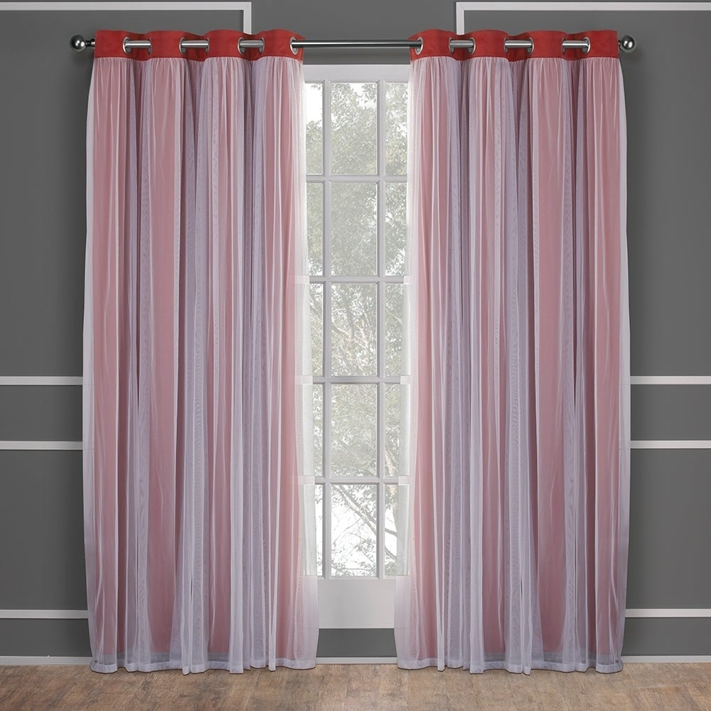 "Recent Ati Home Catarina Layered Curtain Panel Pair With Grommet Top 108""l In Black Pearl (as Is Item) (View 10 of 20)"