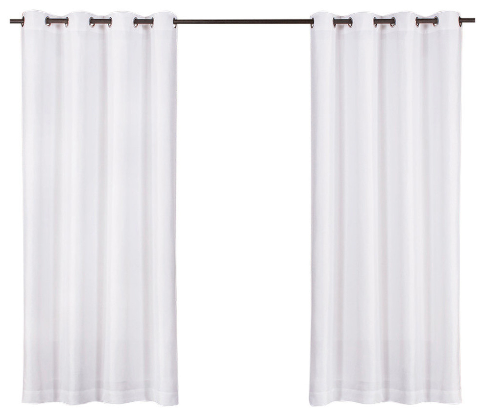 """Recent Biscayne Indoor/outdoor Two Tone Grommet Top Curtains, 54""""x84"""", White, Set  Of 2 Throughout Delano Indoor/outdoor Grommet Top Curtain Panel Pairs (Gallery 19 of 20)"""
