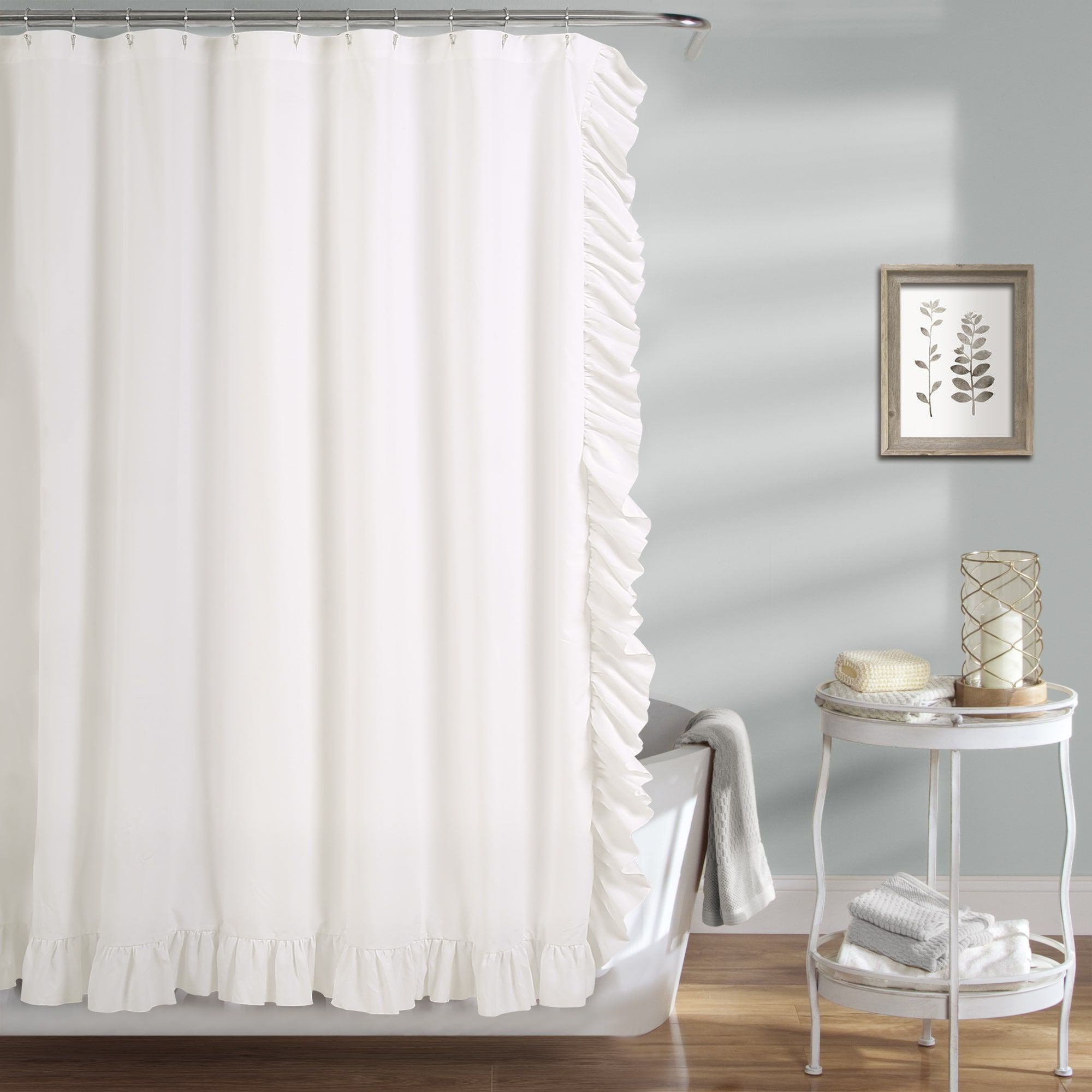 Recent Copper Grove Nina Shower Curtain (White) (Polyester, Solid With Regard To Gray Barn Dogwood Floral Curtain Panel Pairs (Gallery 20 of 20)