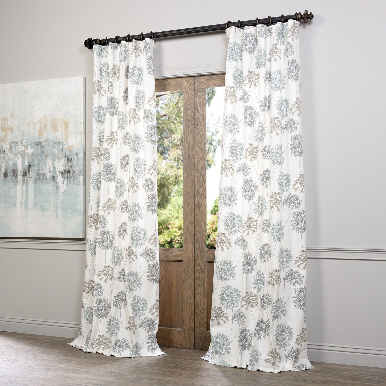 Recent Exclusive Fabrics Allium Blue And Grey Printed Cotton Curtain Panel In Grey Printed Curtain Panels (View 10 of 20)