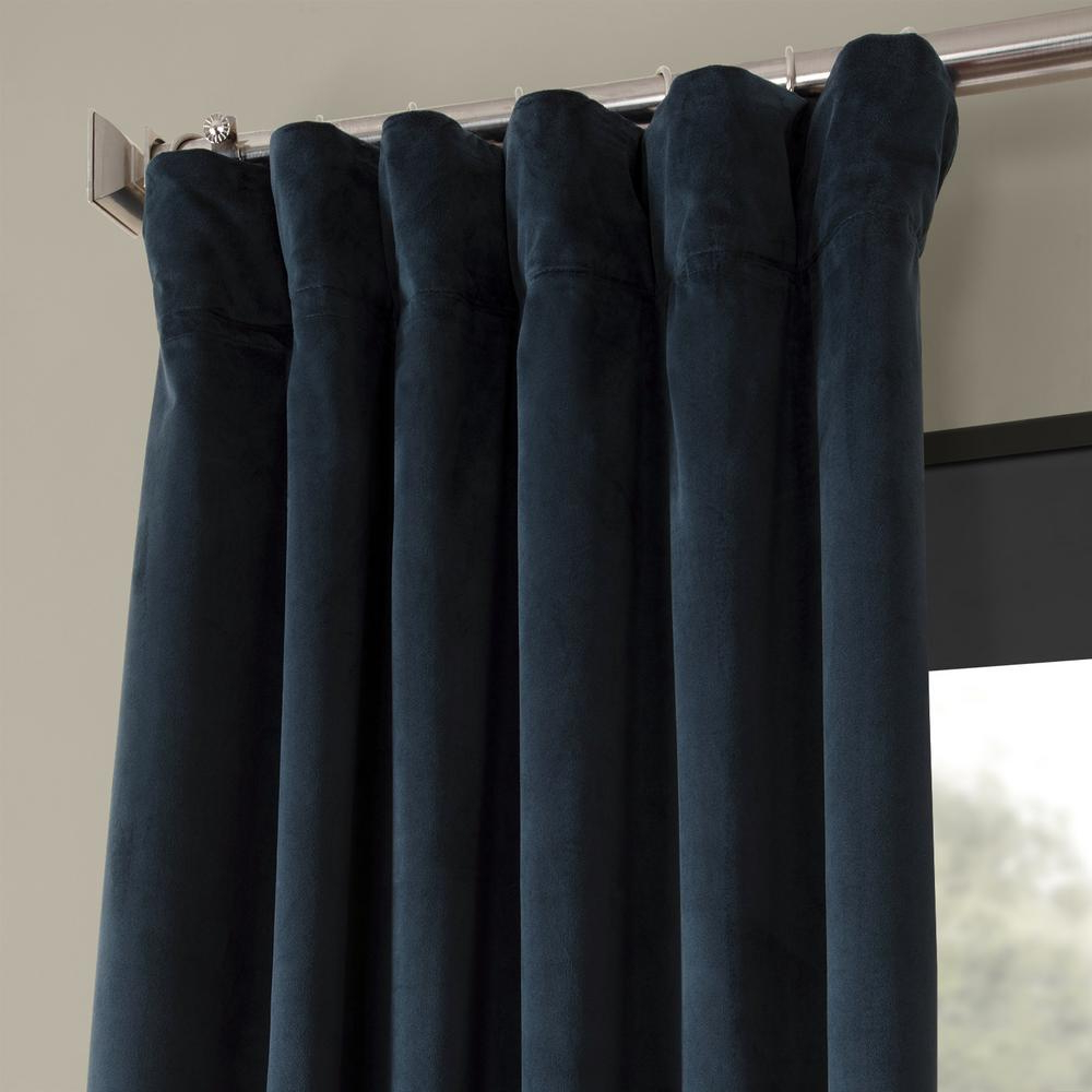 Recent Exclusive Fabrics & Furnishings Blackout Signature Midnight Blue Blackout Velvet Curtain – 50 In. W X 84 In (View 15 of 20)