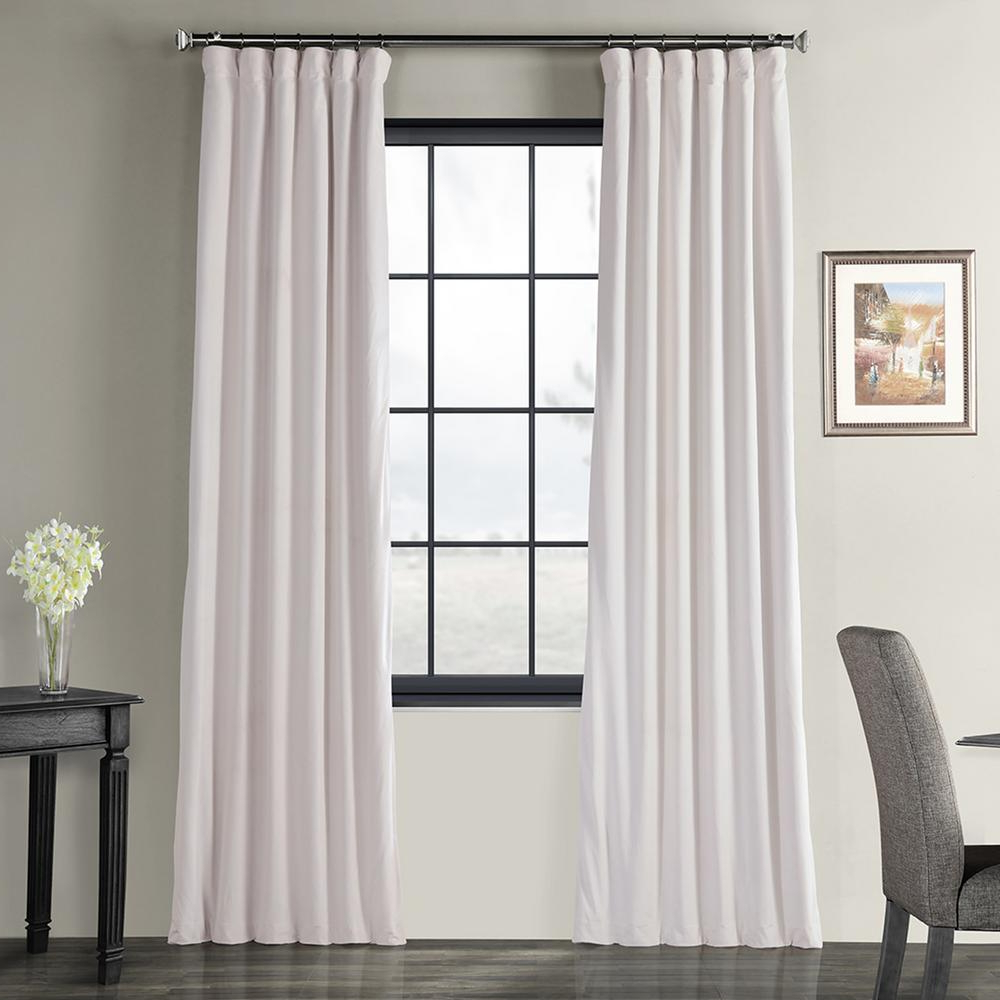 Recent Exclusive Fabrics & Furnishings Blackout Signature Off White Blackout  Velvet Curtain – 50 In. W X 84 In. L (1 Panel) In Signature Pinch Pleated Blackout Solid Velvet Curtain Panels (Gallery 10 of 20)