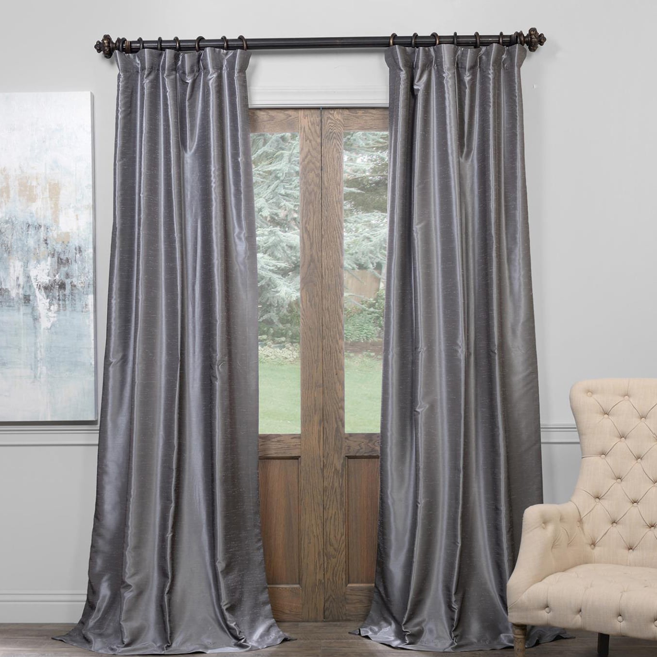 Recent Exclusive Fabrics True Blackout Vintage Textured Faux In Storm Grey Vintage Faux Textured Dupioni Single Silk Curtain Panels (View 12 of 20)