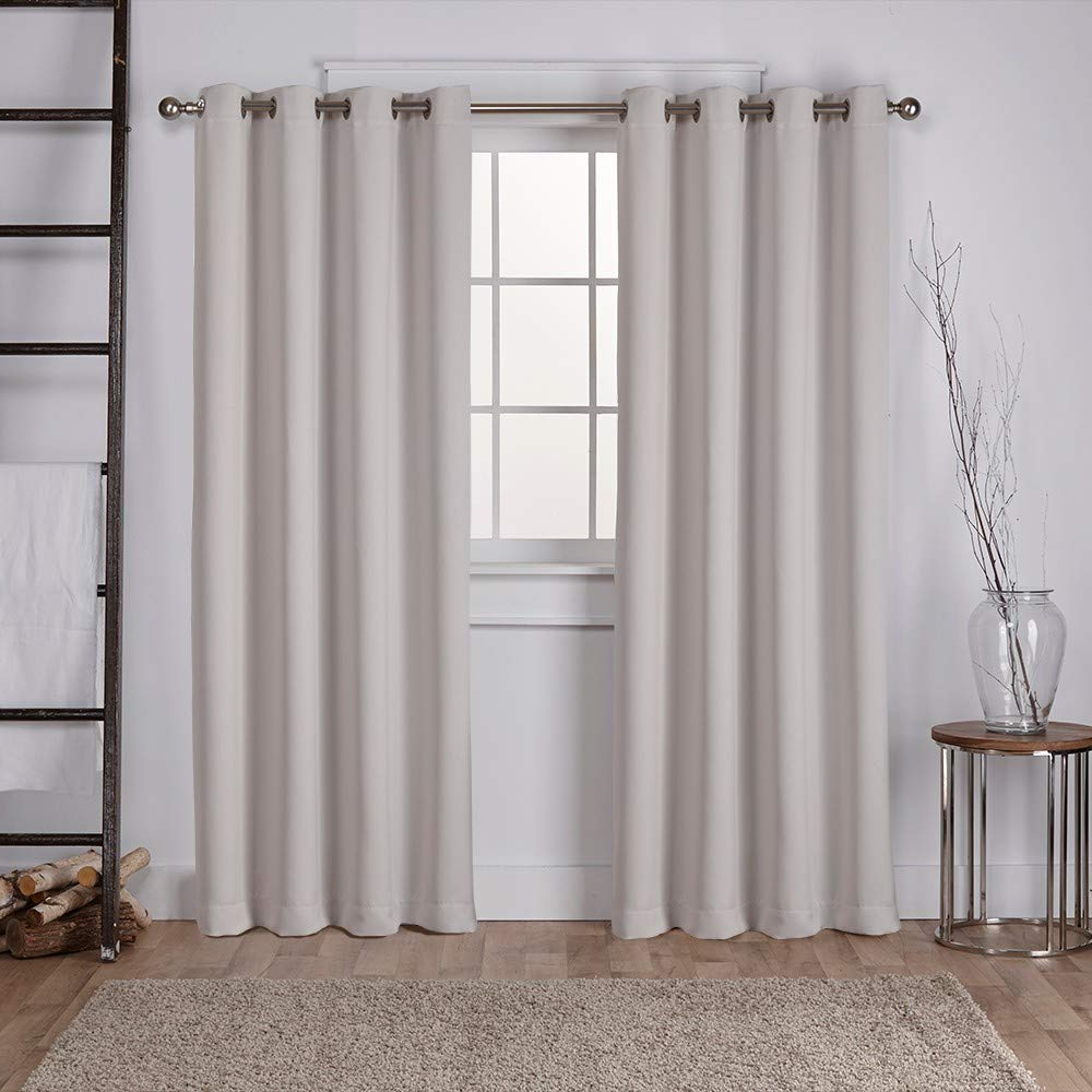 Recent Exclusive Home Curtains Sateen Twill Weave Blackout Window Curtain Panel Pair With Grommet Top, 52X96, Silver, 2 Piece With Regard To Sateen Twill Weave Insulated Blackout Window Curtain Panel Pairs (View 9 of 20)