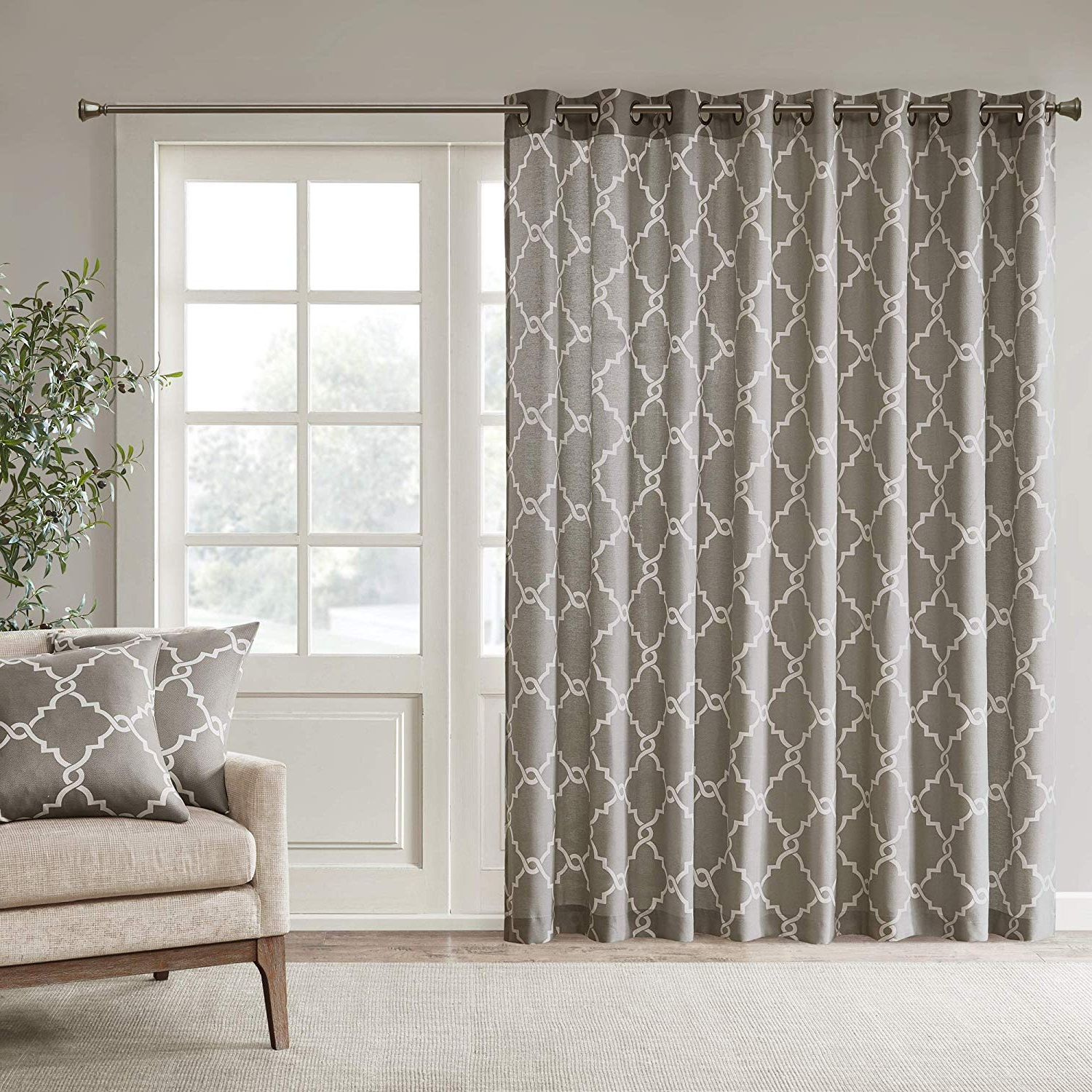 Recent Fretwork Print Pattern Single Curtain Panels In Madison Park Saratoga Room Darkening Curtain Fretwork Print 1 Window Panel  With Grommet Top Blackout Drapes For Bedroom And Dorm, 100X84, Grey (View 14 of 20)