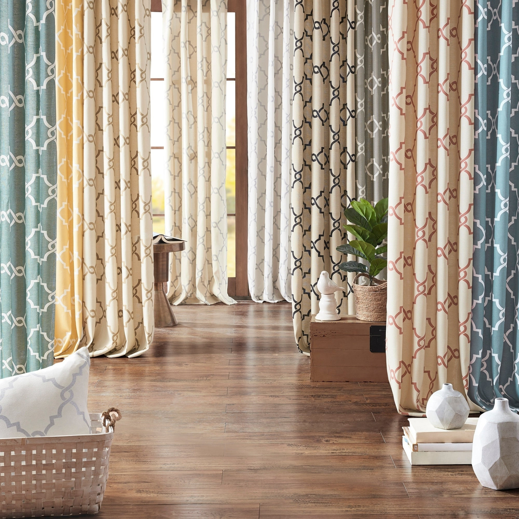 Recent Fretwork Print Pattern Single Curtain Panels In Madison Park Westmont Fretwork Print Pattern Single Curtain Panel (Gallery 10 of 20)