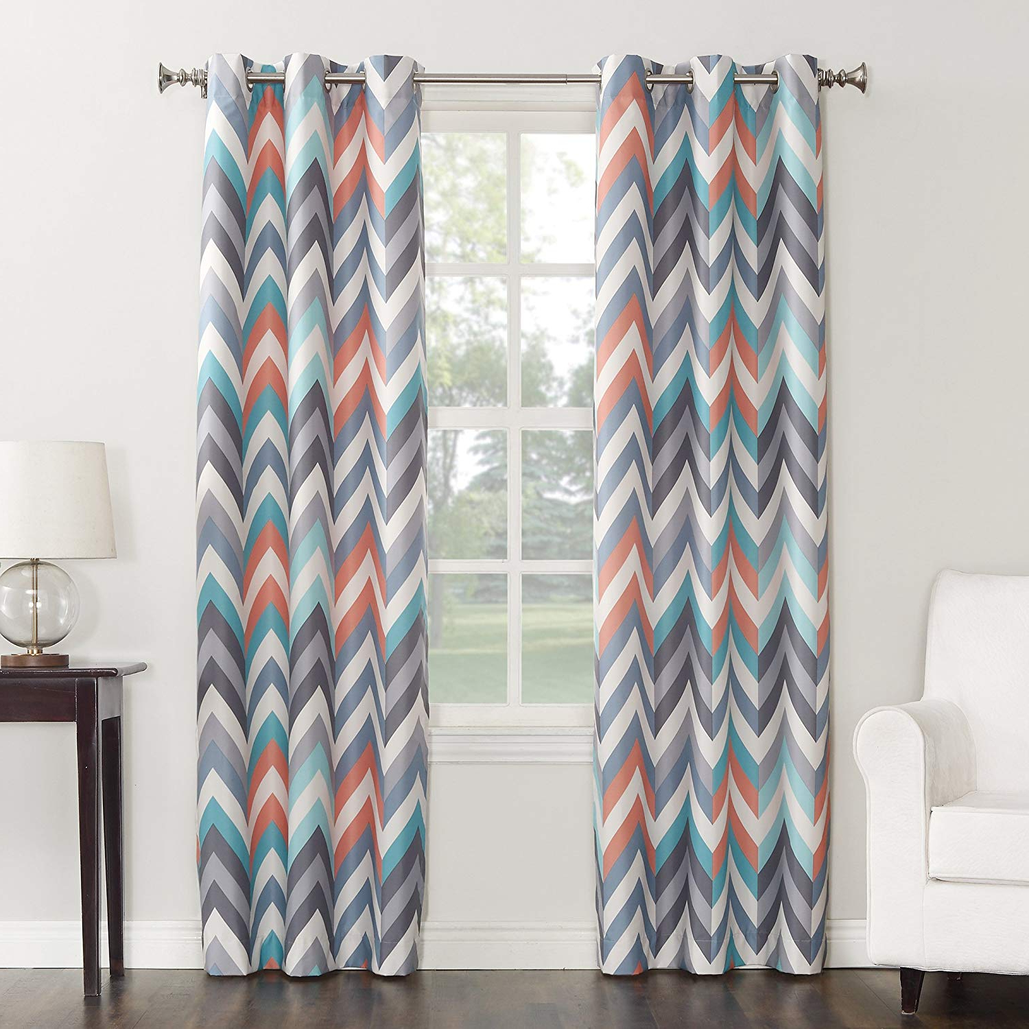 "Recent Geometric Print Textured Thermal Insulated Grommet Curtain Panels With Regard To Sun Zero Genaro Chevron Print Thermal Insulated Grommet Curtain Panel, 40"" X 63"", Gray (View 17 of 20)"