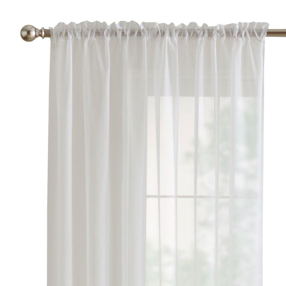 Recent Home Decorators Collection Sheer Voile Window Panel In White – 60 In. W X 84 In (View 12 of 20)