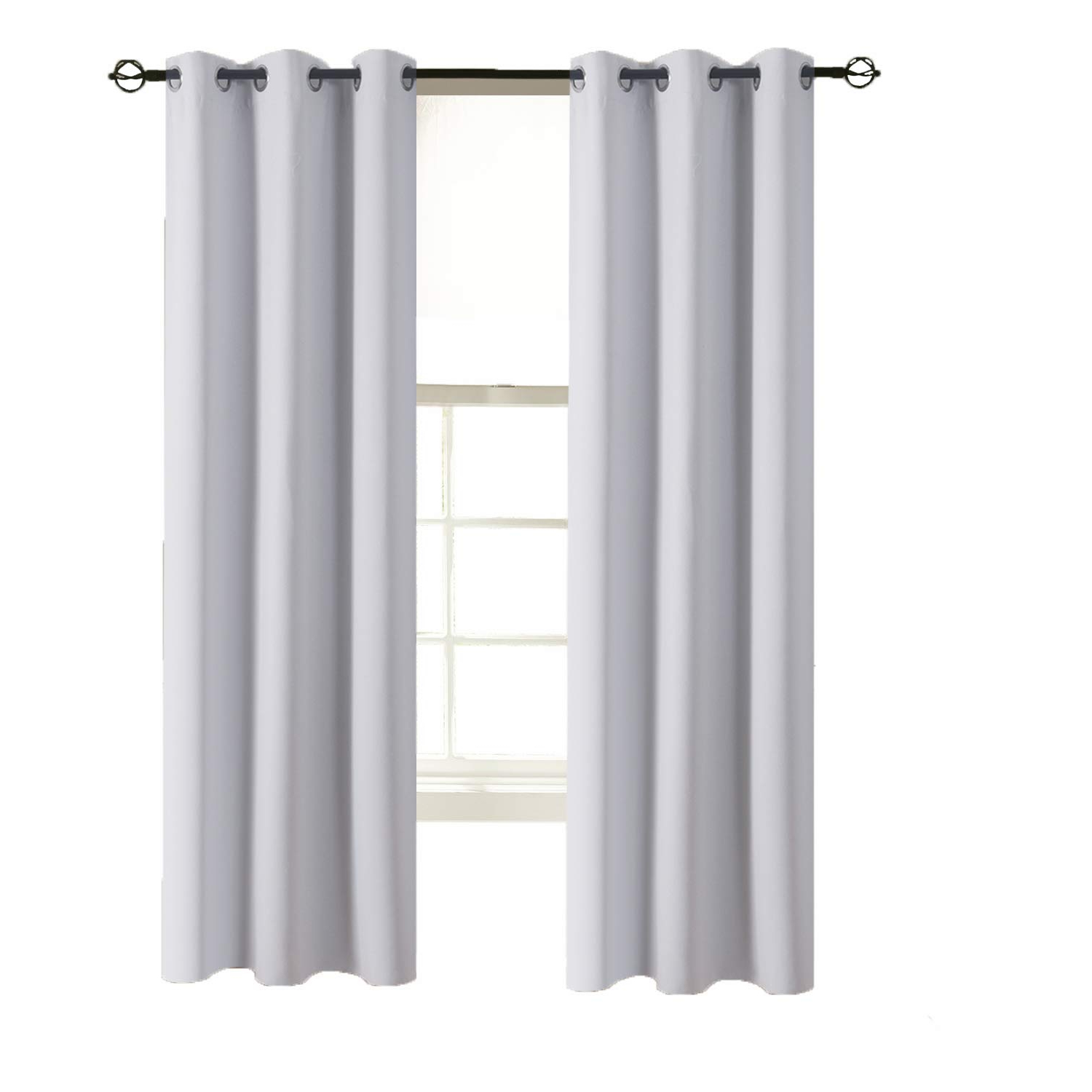 """Recent Keyes Blackout Single Curtain Panels Within Aquazolax Blackout Curtains Window Drapes Solid Blackout Thermal Curtain  Panels 42""""x63"""" With Eyelets Top For Office, Single Panel, Greyish White (Gallery 9 of 20)"""