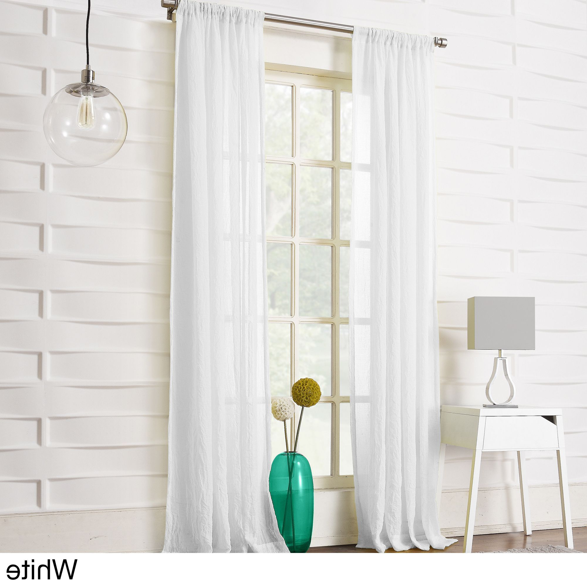 Recent Ladonna Rod Pocket Solid Semi Sheer Window Curtain Panels Pertaining To No (View 7 of 20)