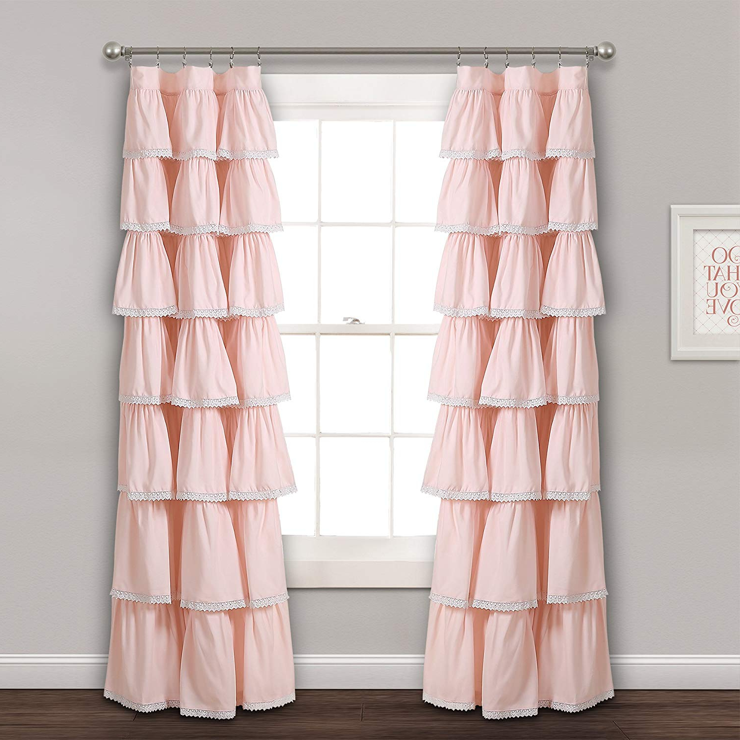 "Recent Lydia Ruffle Window Curtain Panel Pairs With Regard To Lush Decor Lace Ruffle Window, 84"" X 52"", Blush Curtain Panel, (View 11 of 20)"