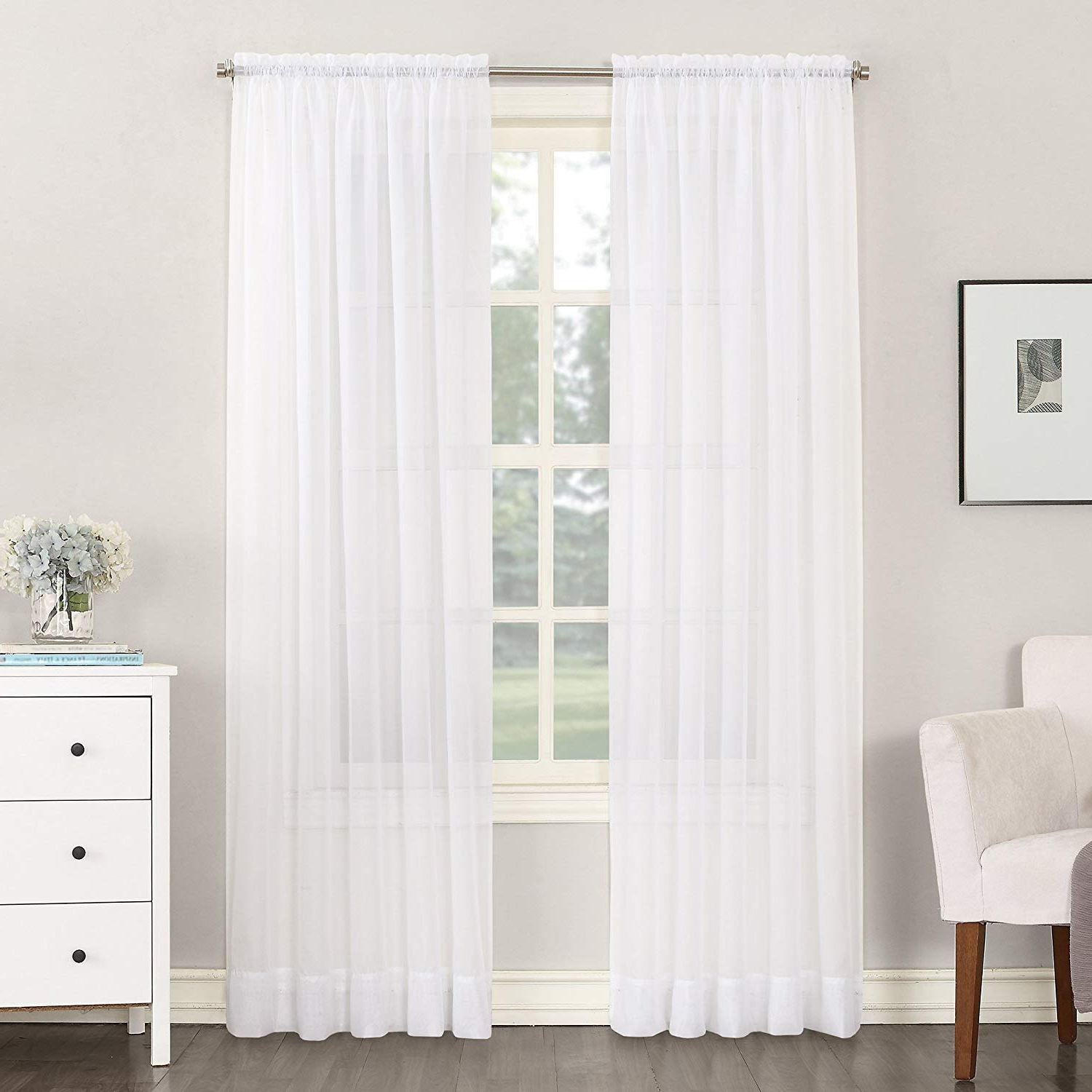 """Recent No. 918 Emily Sheer Voile Rod Pocket Curtain Panel, 59"""" X 63"""", White With Emily Sheer Voile Solid Single Patio Door Curtain Panels (Gallery 5 of 20)"""