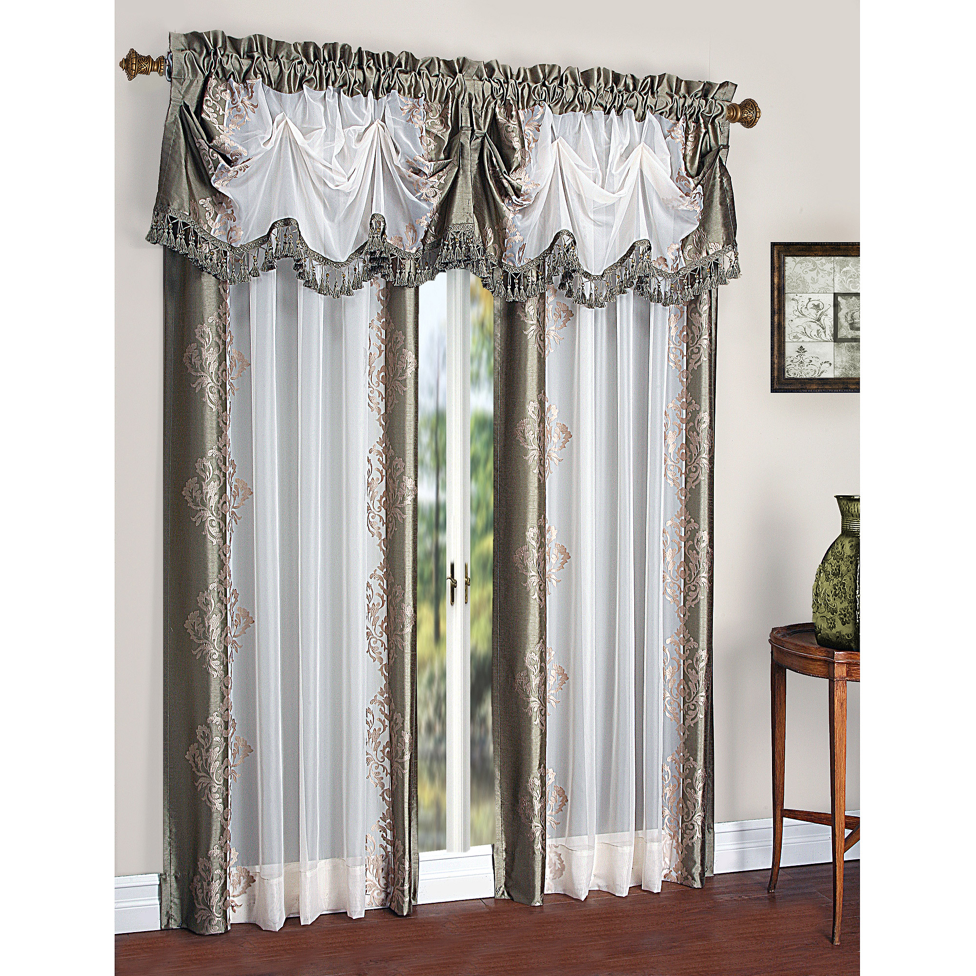 Recent Ofloral Embroidered Faux Silk Window Curtain Panels In Danbury Embroidered Pieced Voile Faux Silk Polyester Curtain Panel (View 13 of 20)