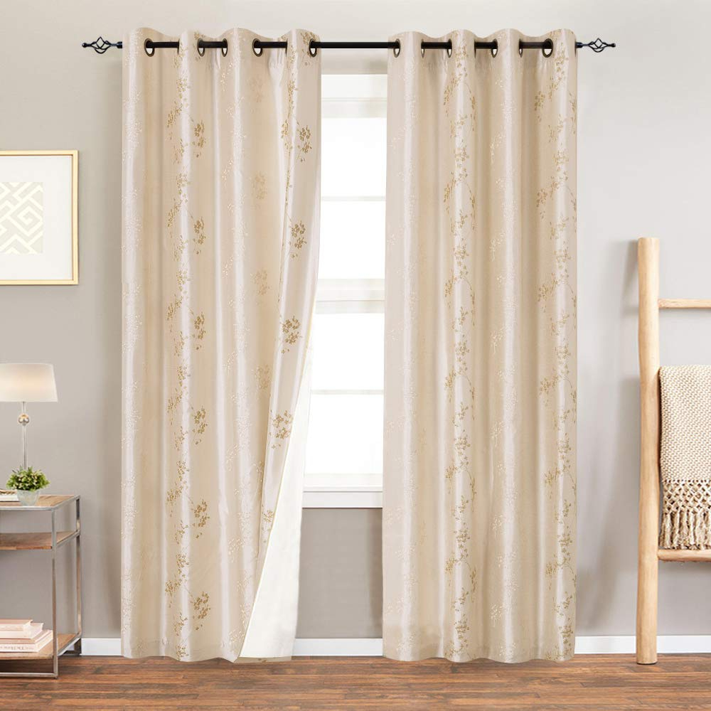 Recent Ofloral Embroidered Faux Silk Window Curtain Panels Within Lined Luxury Faux Silk Floral Embroidered Grommet Top Curtains For Bedroom 84 Inches Long Embroidery Curtain For Living Room, 2 Panels, Light Golden (View 4 of 20)