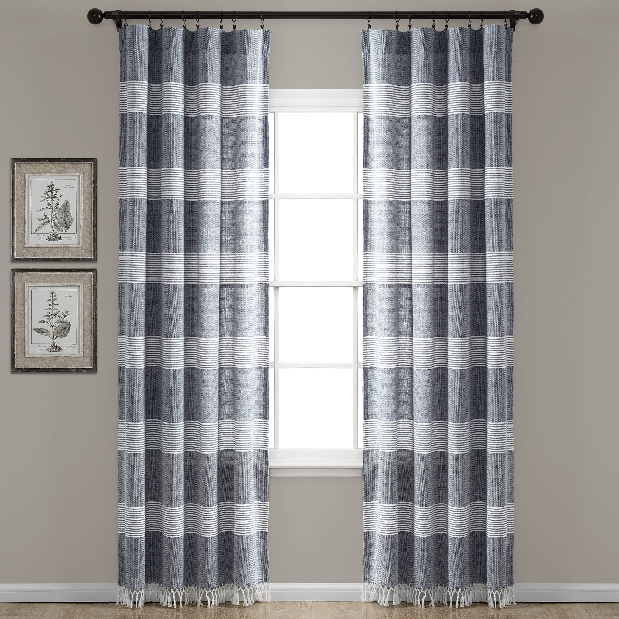Featured Photo of Ombre Stripe Yarn Dyed Cotton Window Curtain Panel Pairs