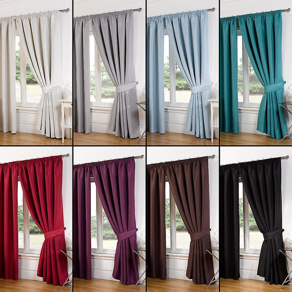 Recent Pair Of Faux Silk Pencil Pleat Blackout Curtains Ready Made Lined Free  Tiebacks For Overseas Faux Silk Blackout Curtain Panel Pairs (View 16 of 20)