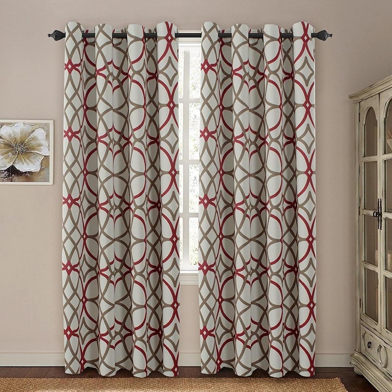 Recent Primebeau Geometric Pattern Blackout Curtain Pairs Regarding Premier Home Decor Inc Primebeau Geometric Pattern Blackout Curtain Pair 2 Pack (View 2 of 20)