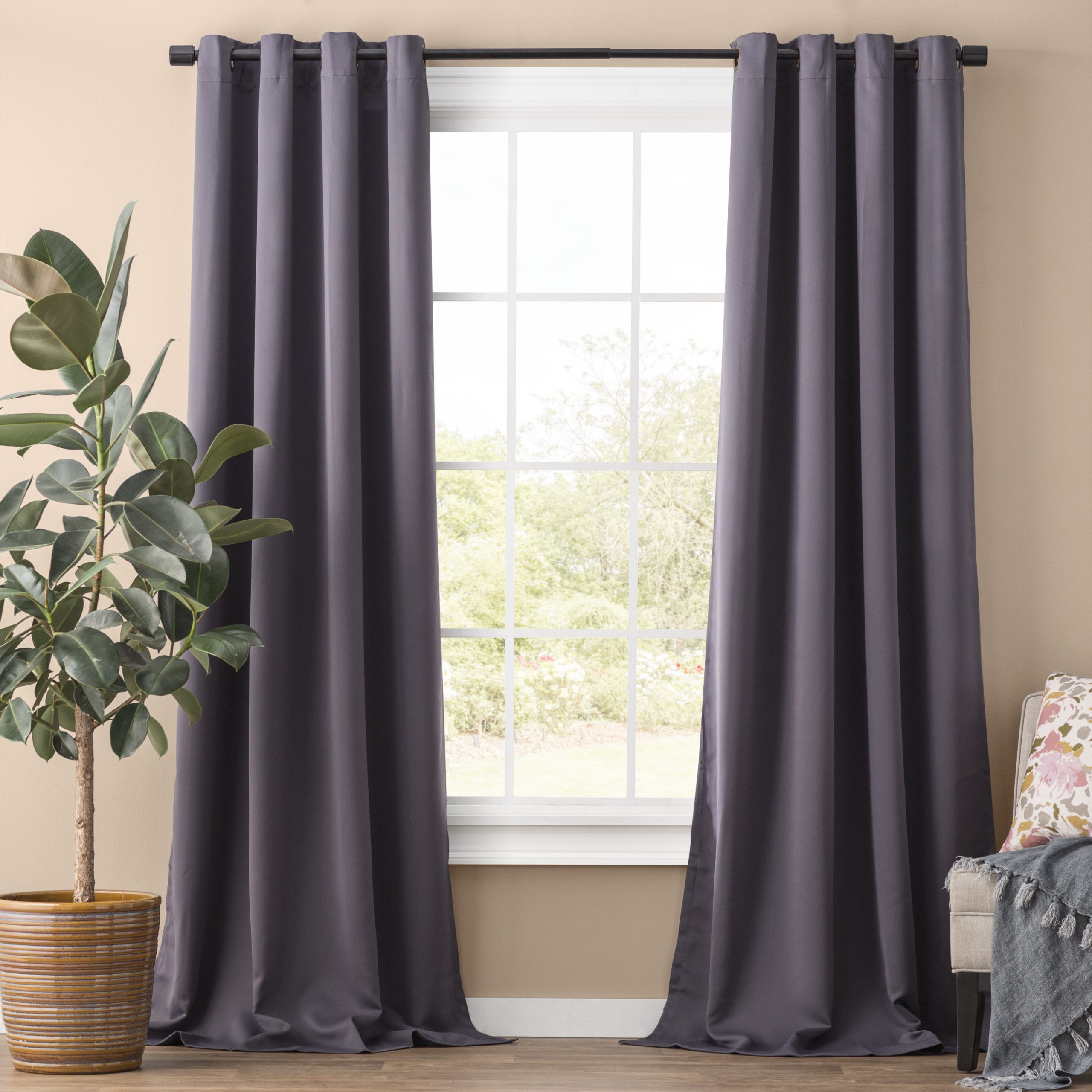Recent Solid Insulated Thermal Blackout Long Length Curtain Panel Pairs Inside Solid Blackout Thermal Grommet Curtain Panels & Reviews (View 14 of 20)