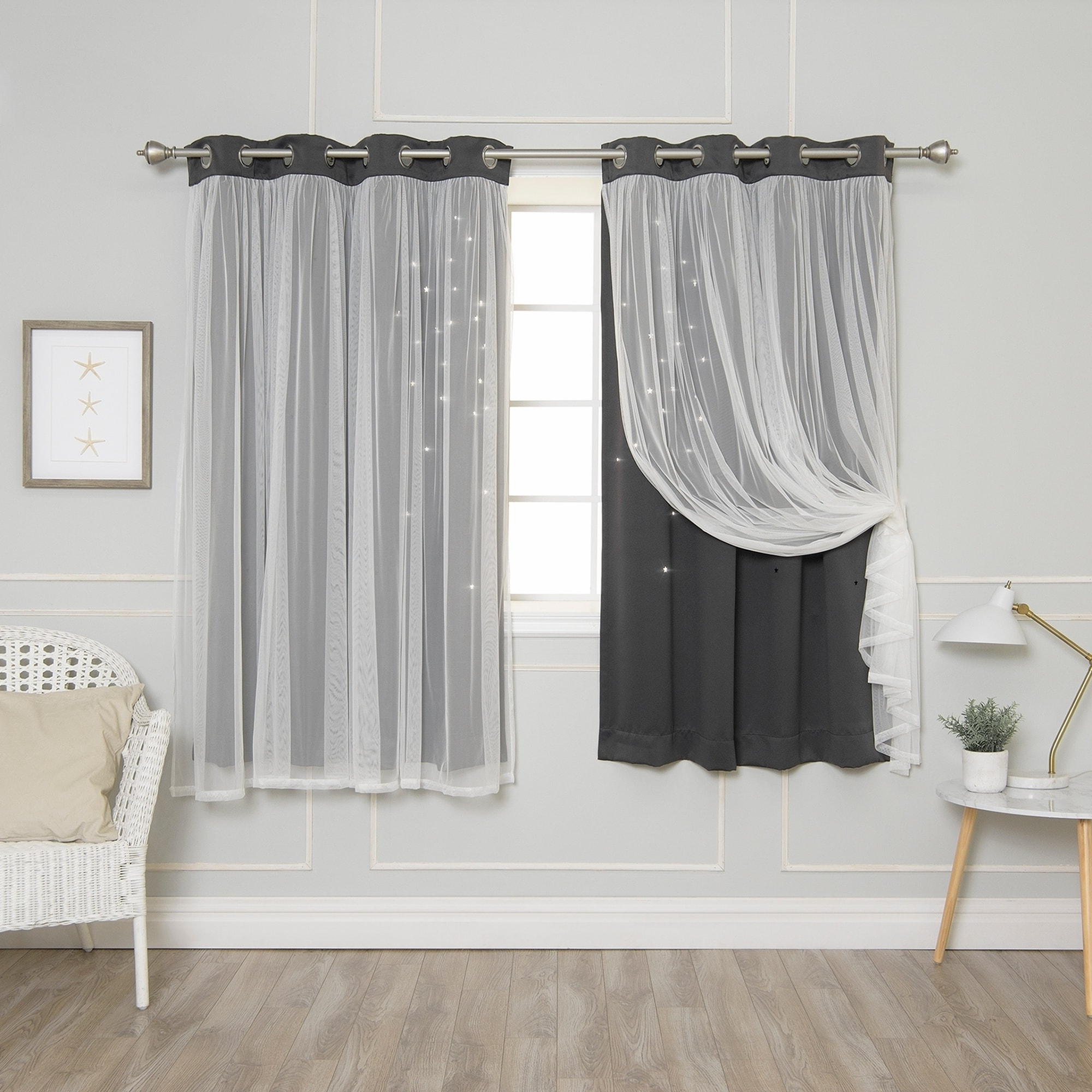 Recent Star Punch Tulle Overlay Blackout Curtain Panel Pairs With Regard To Aurora Home Star Punch Tulle Overlay Blackout Curtains ( (View 6 of 20)