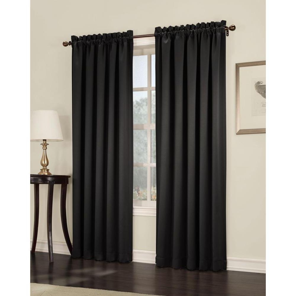 Recent Sun Zero Semi Opaque Black Gregory Room Darkening Pole Top Curtain Panel, 54 In. W X 84 In (View 12 of 20)