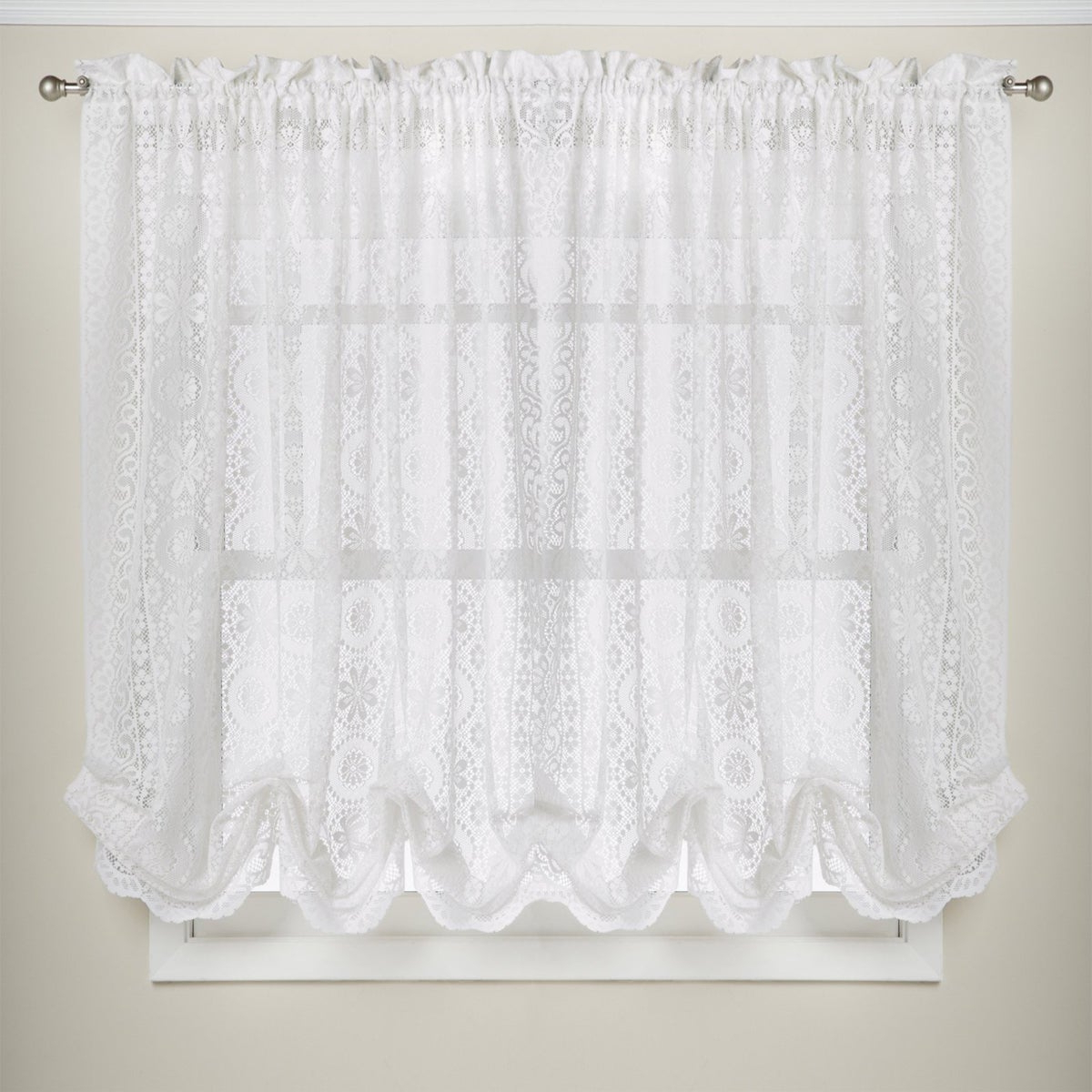 Recent White Lace Luxurious Old World Style Kitchen Curtains Tiers, Shade Or  Valances Regarding Luxurious Old World Style Lace Window Curtain Panels (Gallery 9 of 20)