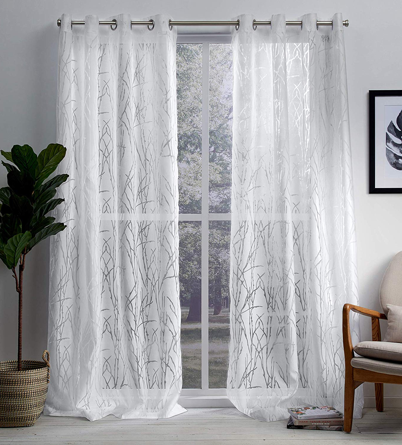 Recent Wilshire Burnout Grommet Top Curtain Panel Pairs Within Exclusive Home Curtains Edinburgh Sheer Branch Burnout Window Curtain Panel Pair With Grommet Top, 52x96, Winter White, 2 Piece (View 13 of 20)